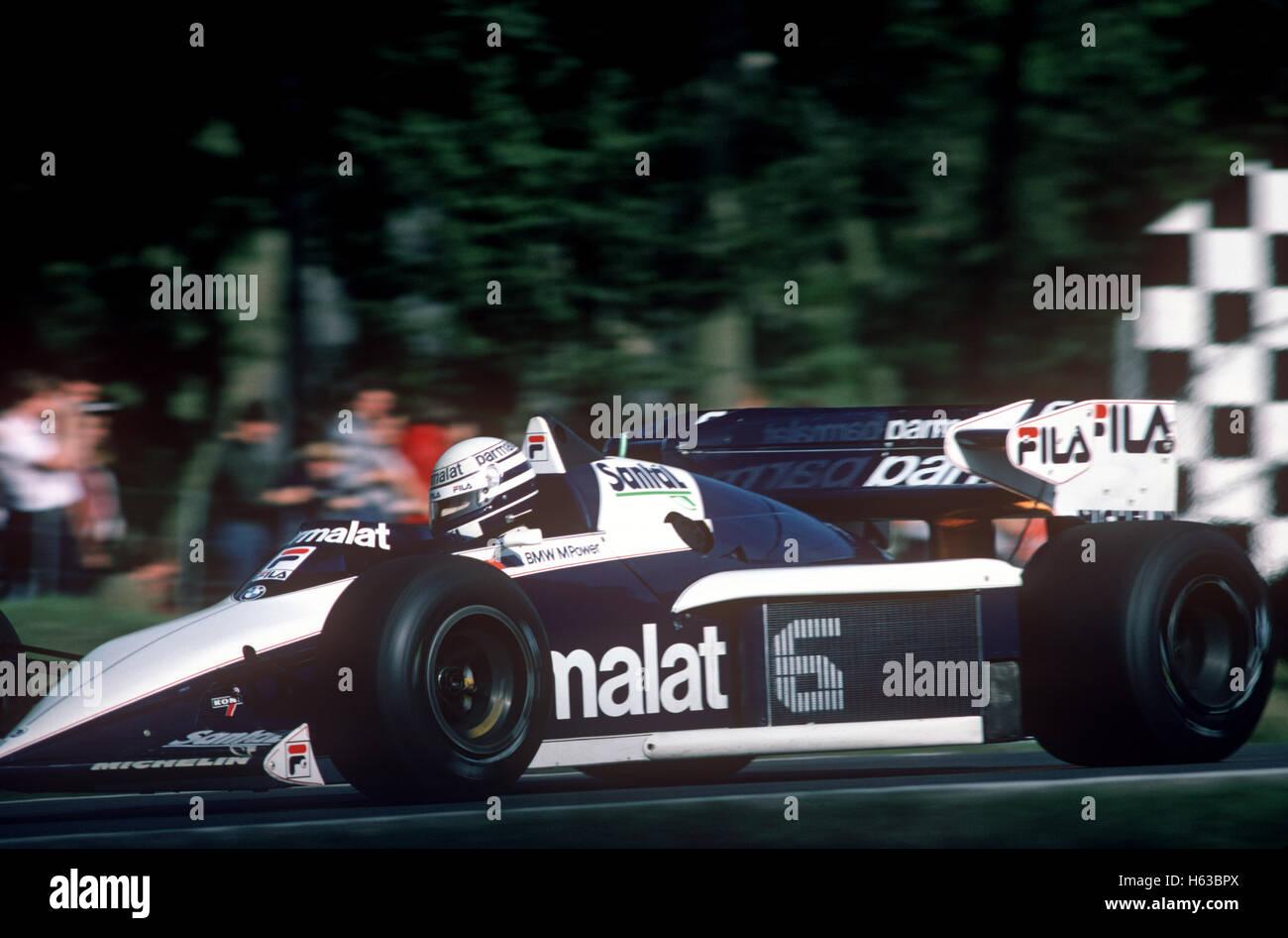 Nelson Piquet Brabham bT52 in British GP Brands Hatch 1983 Race Of Champions Stockbild