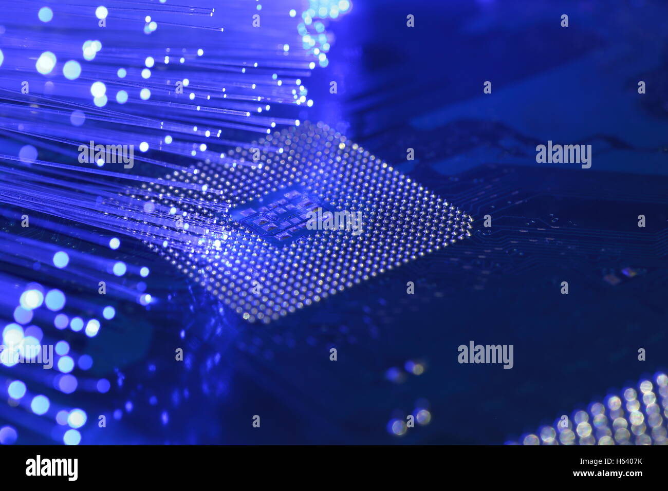 Breitband, Glasfaser, Chipsatz, CPU, Elektronik Stockbild