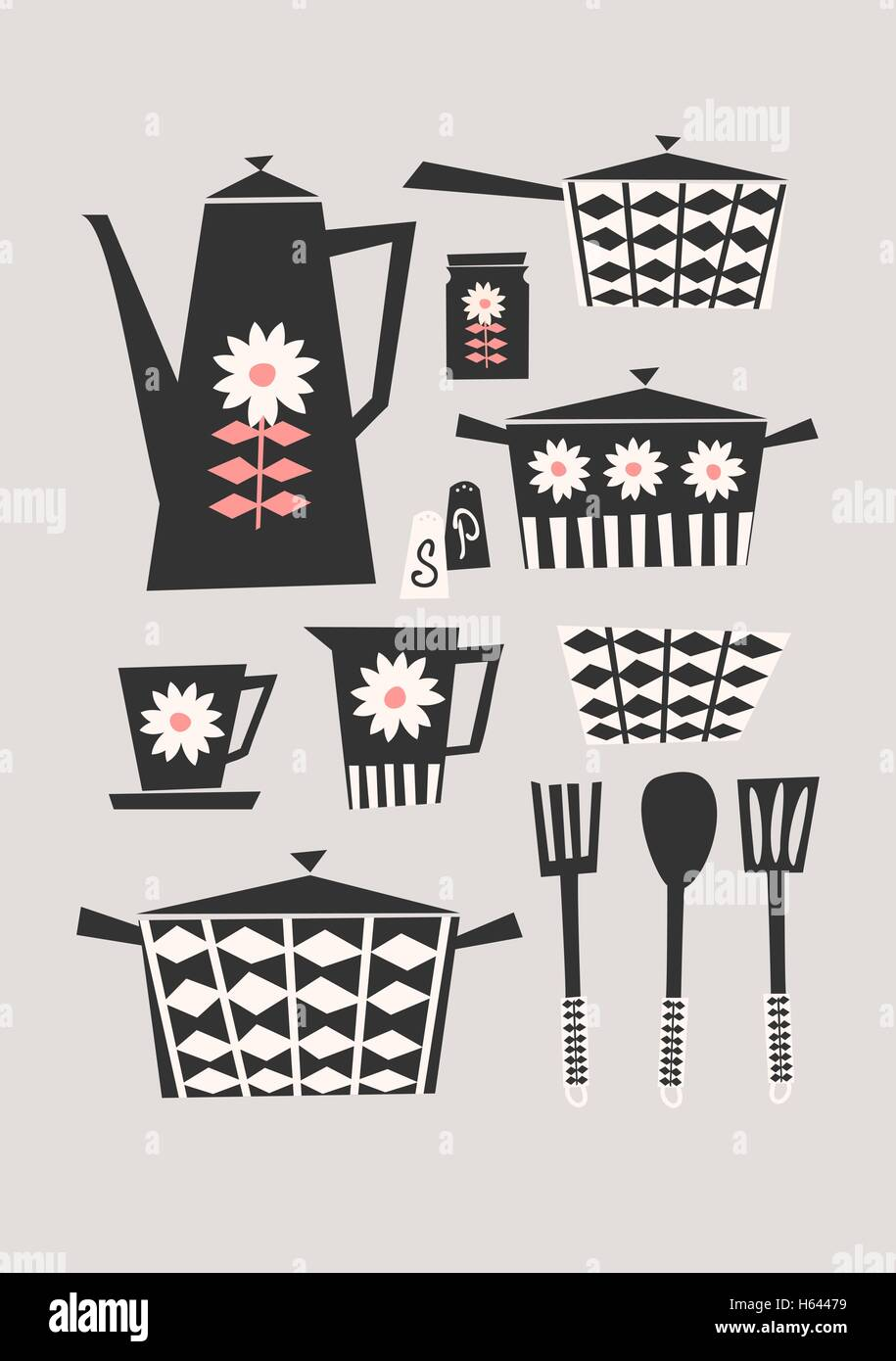 Mitte Des Jahrhunderts Stil Darstellung Eines Satzes Von Küchenutensilien  In Schwarz, Pastell Rosa Und Creme Auf Taupe Hintergrund. Stilvoll Und  Modern