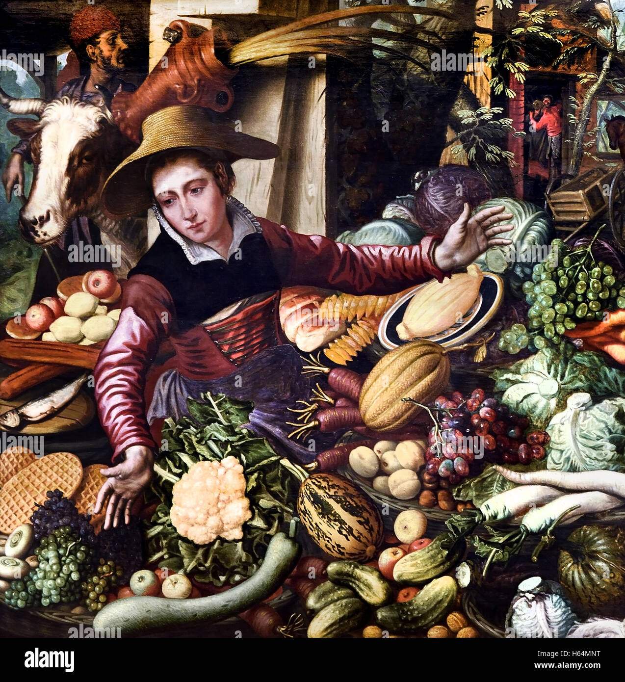Marktfrau an Gemüse stehen 1567 Pieter Aertsen 1508-1575 Niederlande Niederlande Stockfoto