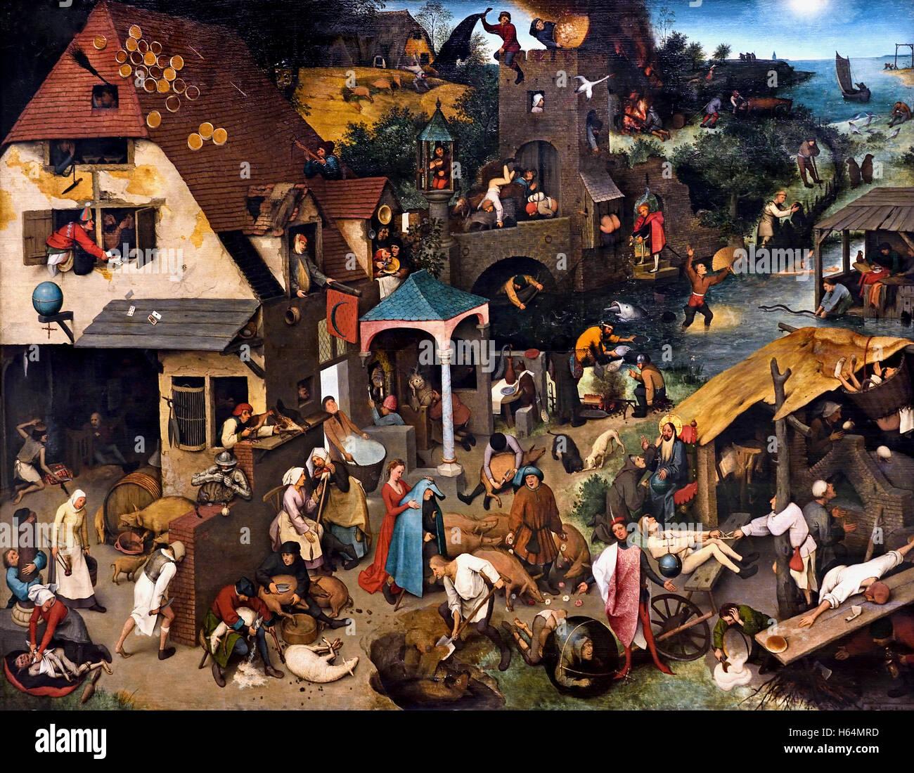 Die niederländischen Sprichwörter, 1559 Pieter Brueghel (Bruegel) der älteren Breda1525 - 1569 Brüssel Stockbild