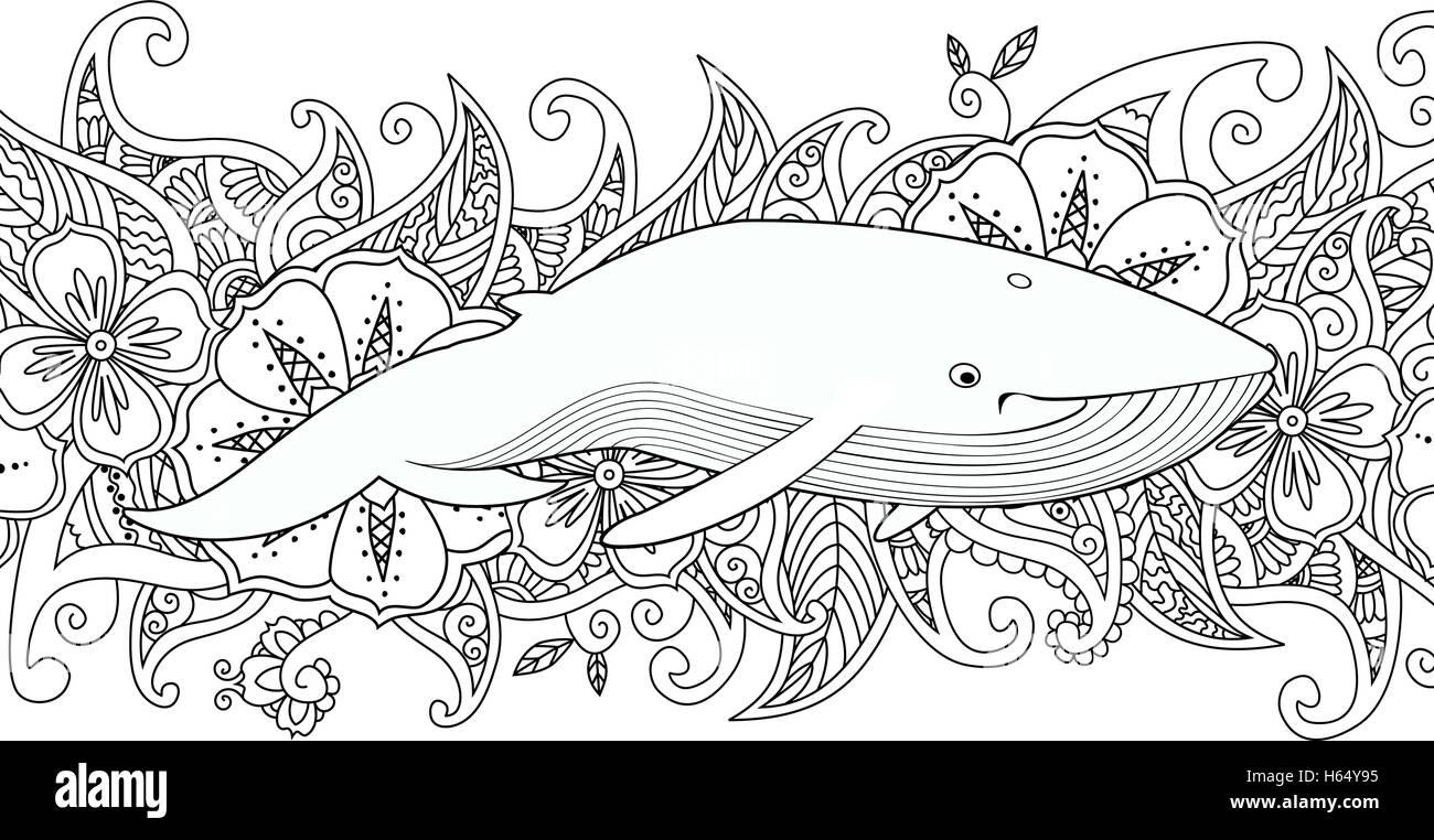 Malvorlagen mit Wal im Meer auf Blume Rand Hintergrund Stock