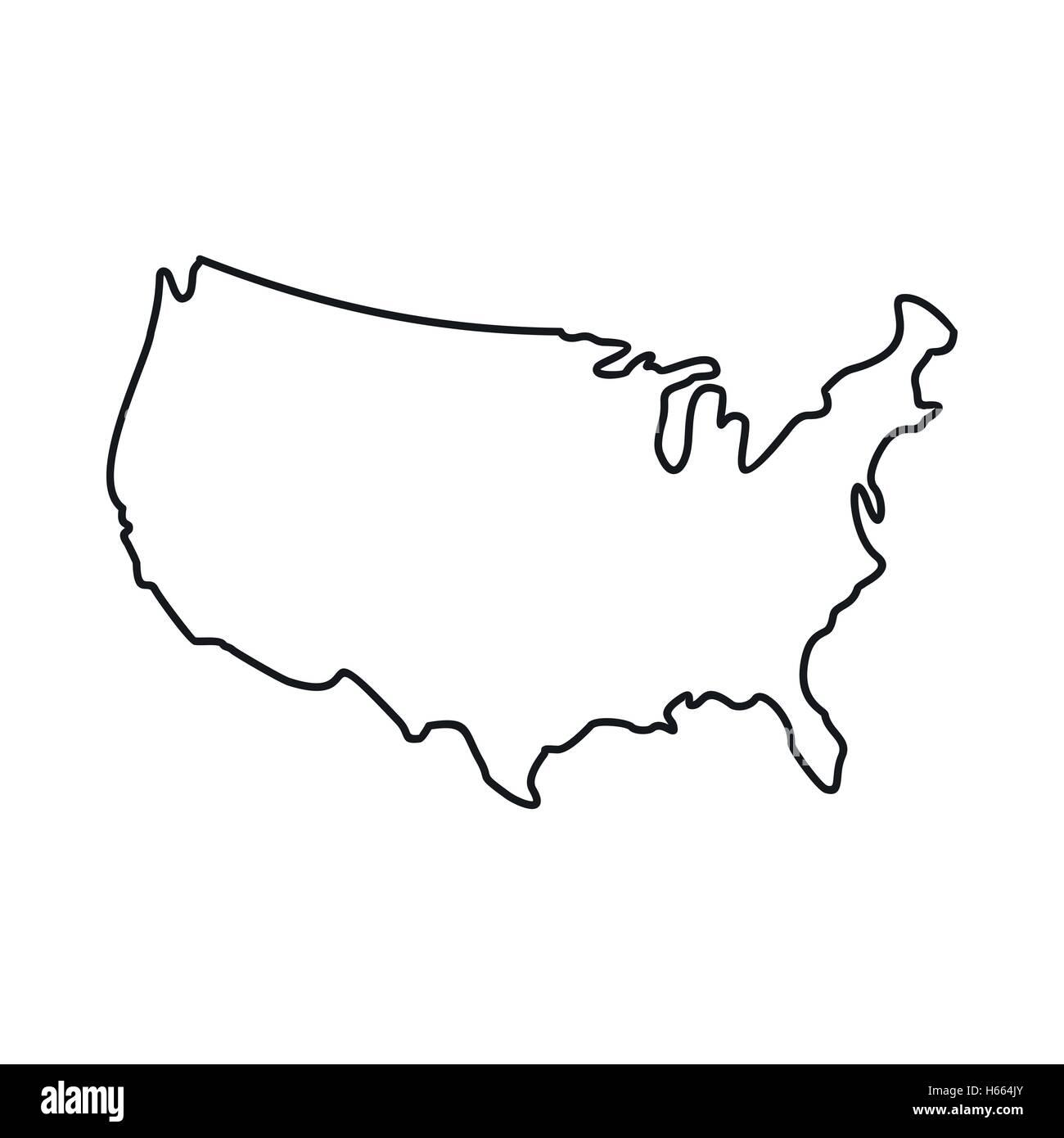 Symbol Usa Karte Umriss Stil Vektor Abbildung Bild 124295891