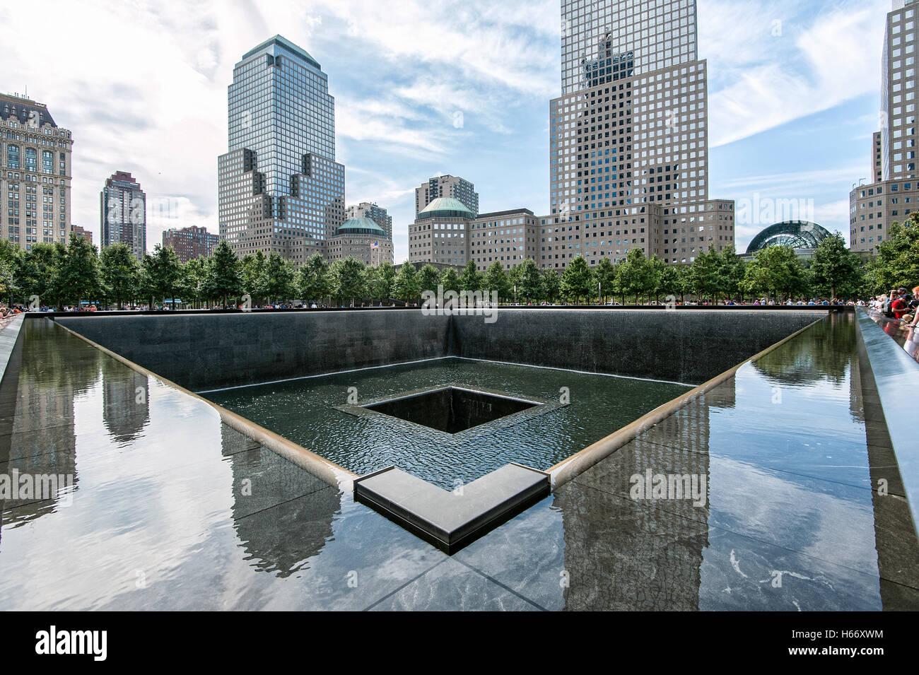 Memorial, 9/11 Memorial, Nord Pool am Ground Zero, Manhattan, New York City Stockbild