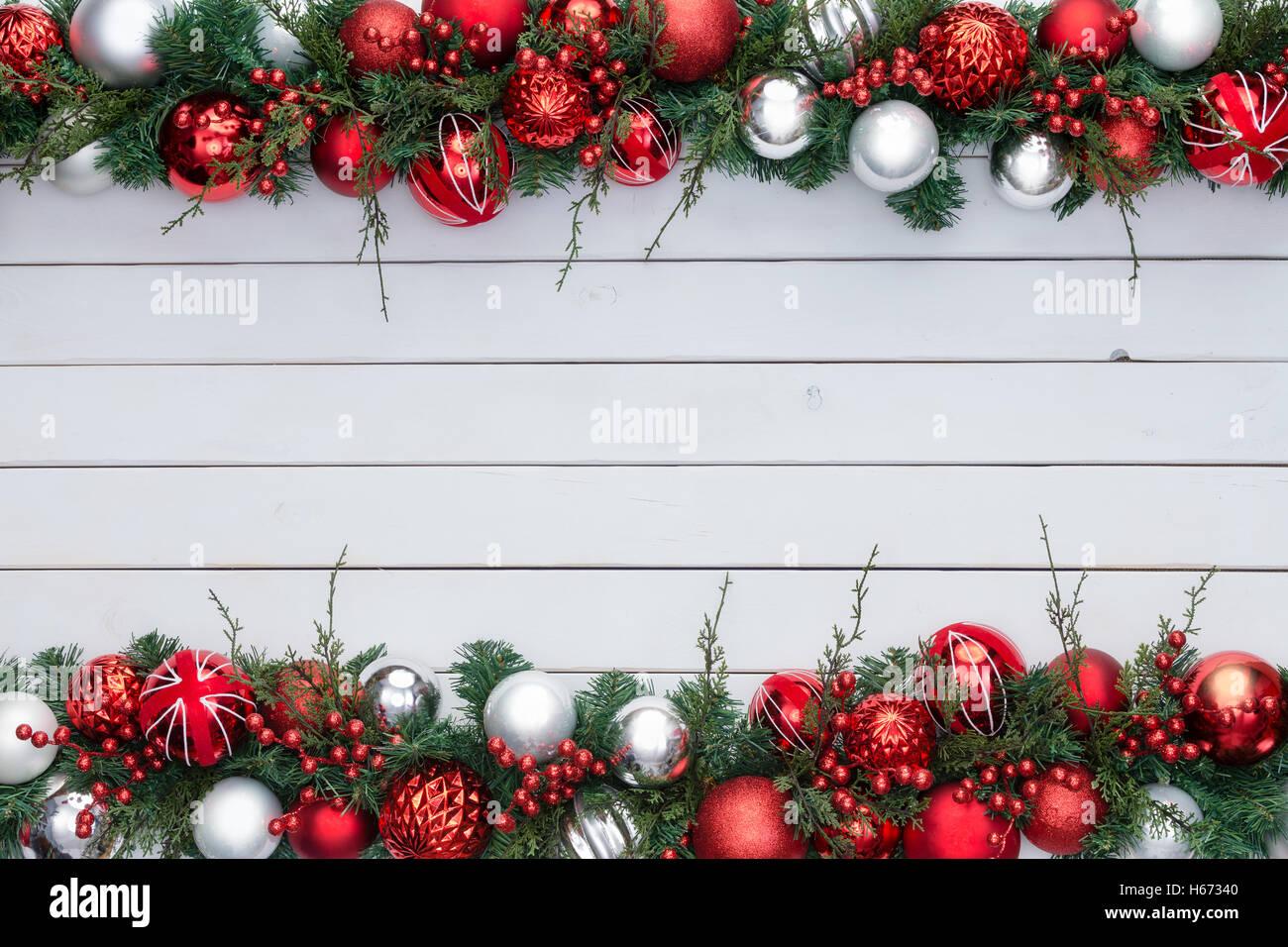 Rote Und Weisse Bunte Festliche Weihnachten Doppelrand Mit Einem