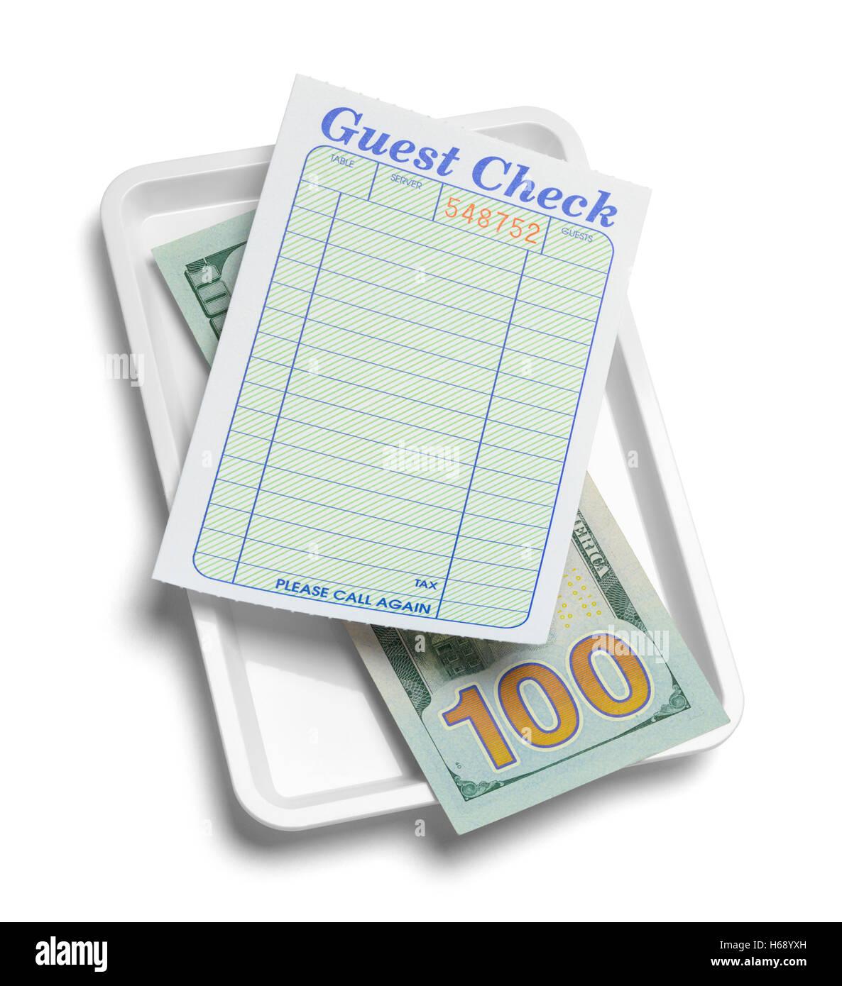 Quittung Tablett mit Geld und leere Guest Check isolierten auf weißen Hintergrund. Stockbild