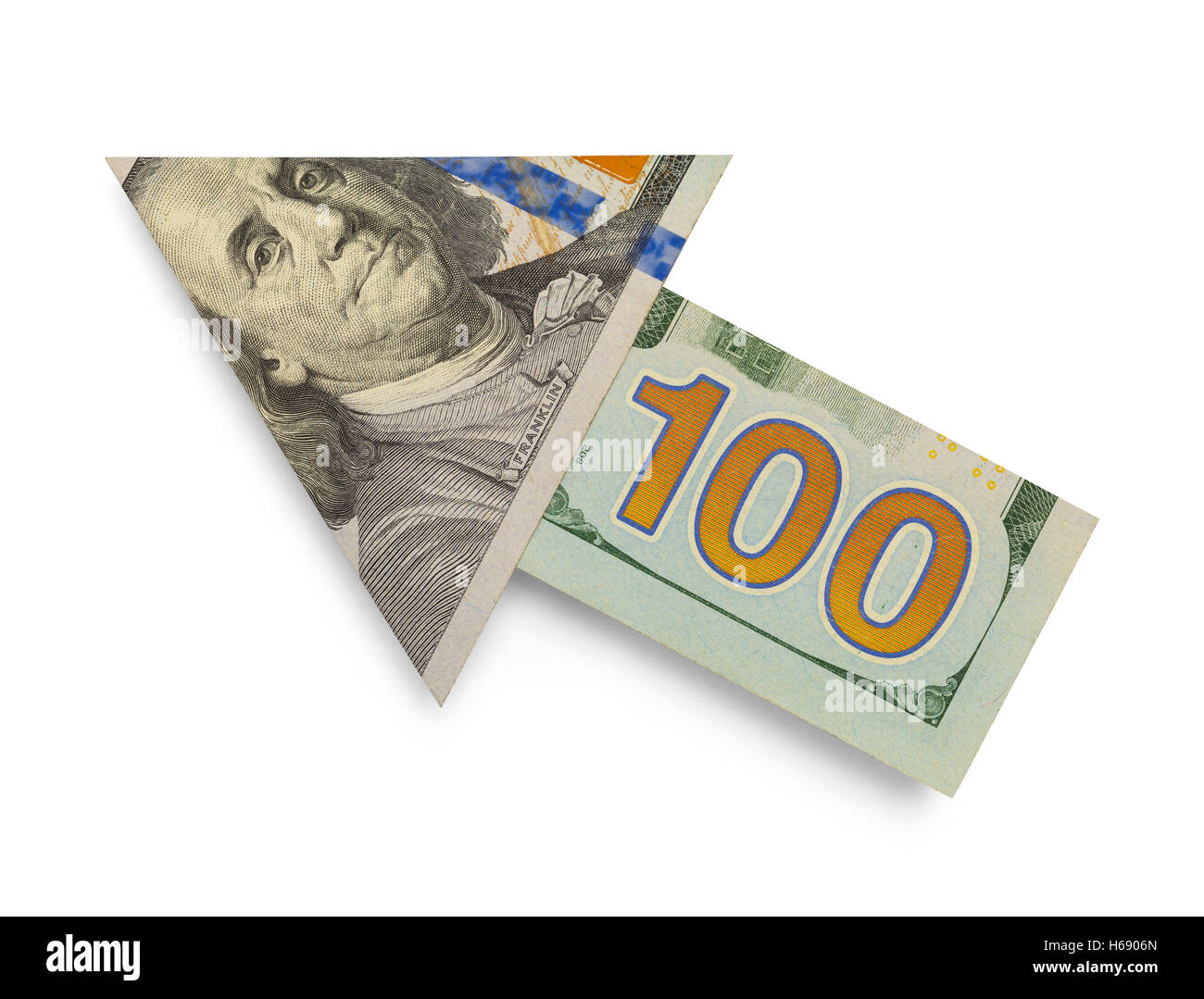 Hundert Dollar Bill Pfeil Isolated on White Background. Stockbild