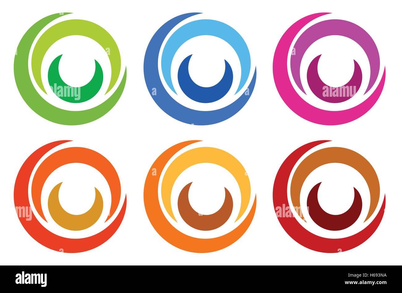 Bunter Kreis-Logo, Symbol Vorlagen. segmentierte konzentrisch Vektor ...