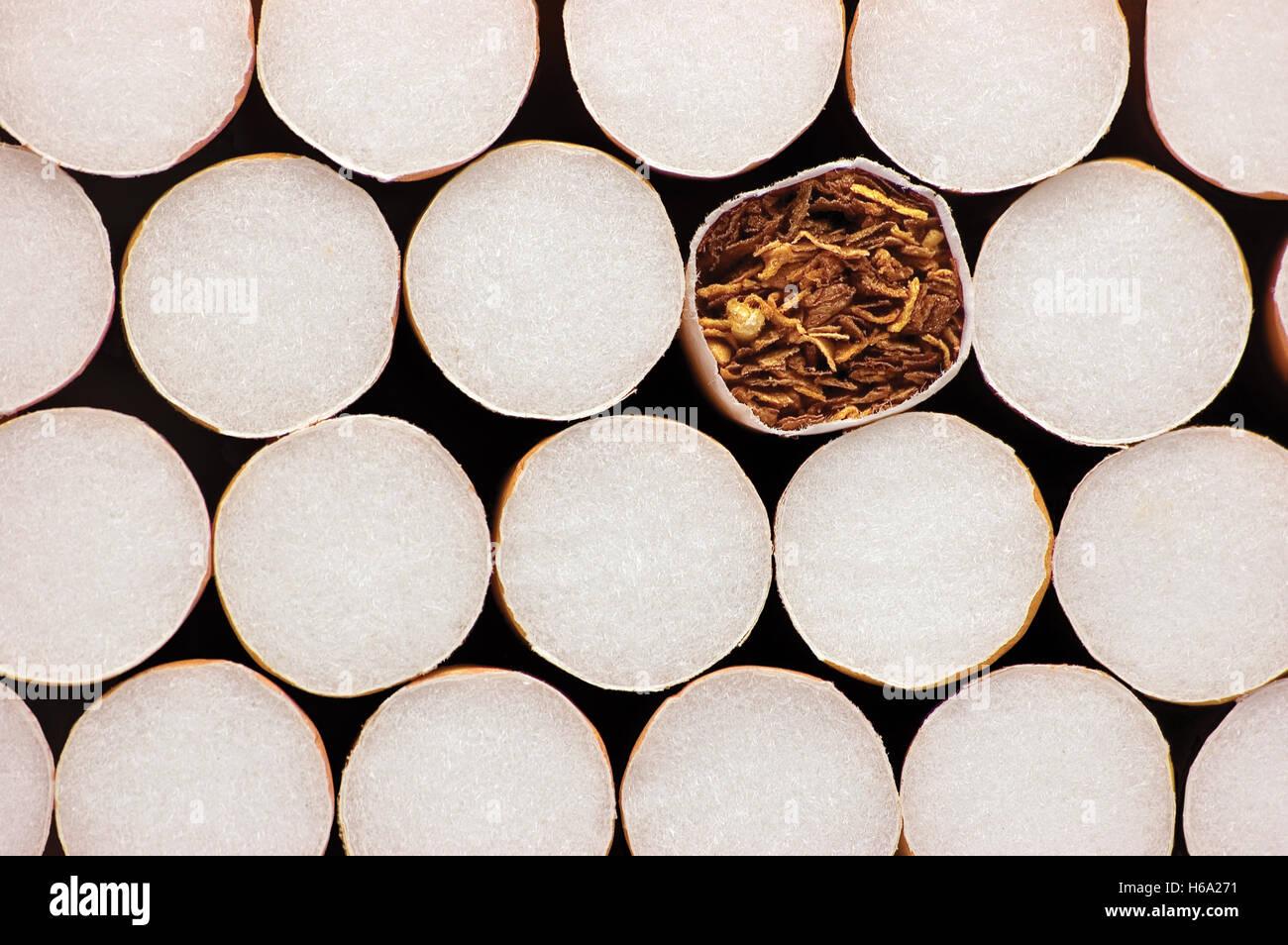Makro Nahaufnahme von Filterzigaretten, große detaillierte Tabak Konzept Hintergrundmuster Stockbild