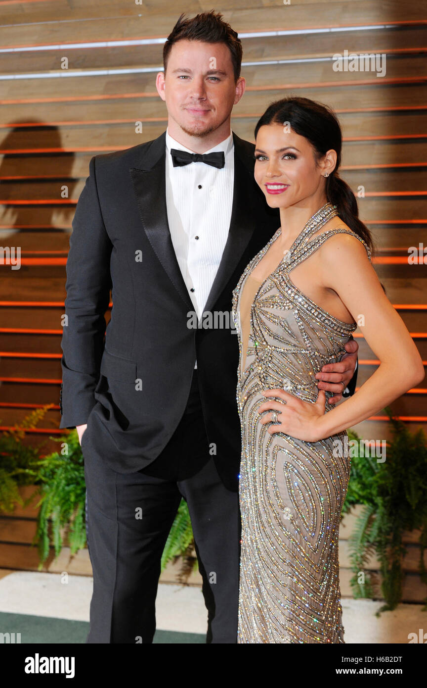 Schauspieler Channing Tatum (L) und Schauspielerin Jenna Dewan-Tatum besucht die 2014 Vanity Fair Oscar Party am Stockbild