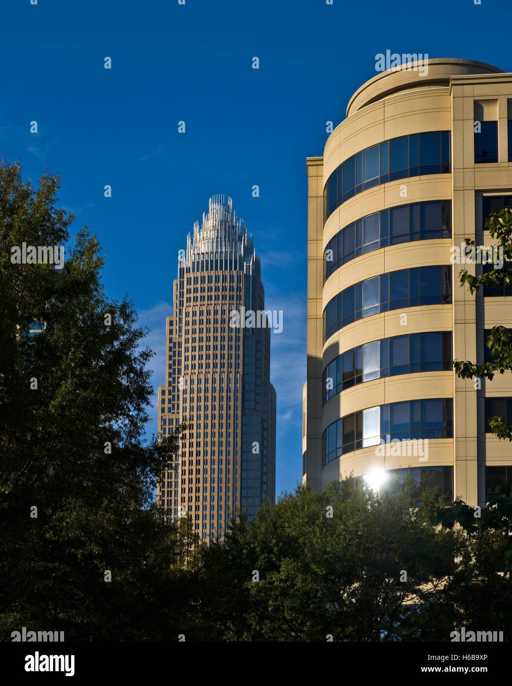 Architektur, Gebäude in der Stadt Charlotte, NC Stockfoto