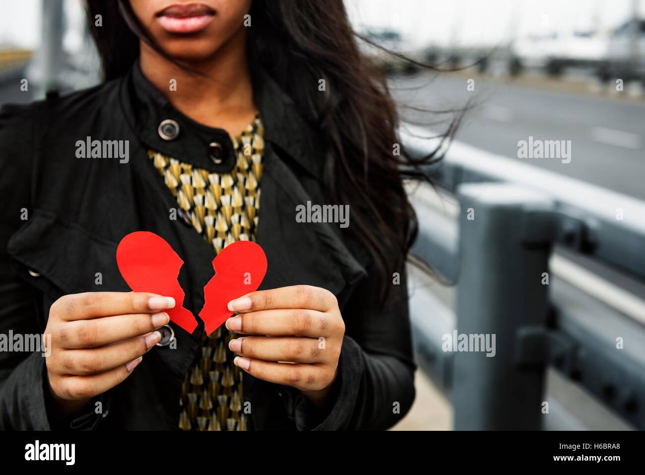 Liebe Schmerz verletzt Depressive enttäuscht gebrochen Konzept Stockbild
