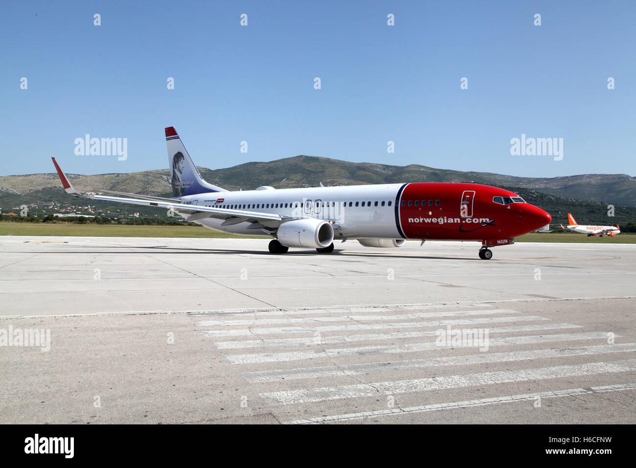 NORWEGISCHEN Flugzeug am Flughafen Split mit neuen Touristen nach Kroatien Stockbild