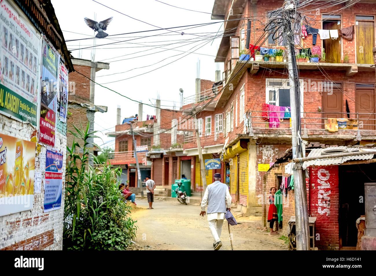Szene der Vorort in der Nähe von Bhaktapur, Nepal. © Reynold Sumayku Stockbild