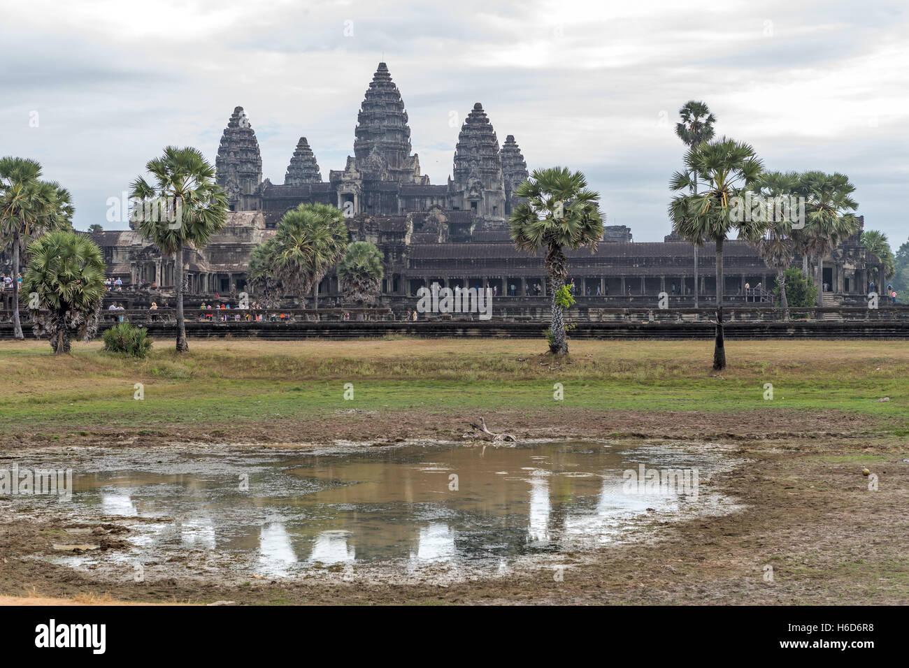 Korridore Angkor Wat Kambodscha Stockbild
