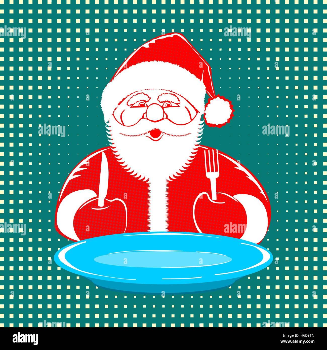 Vektor Illustration Weihnachtsmann Comic Stildesign Mit