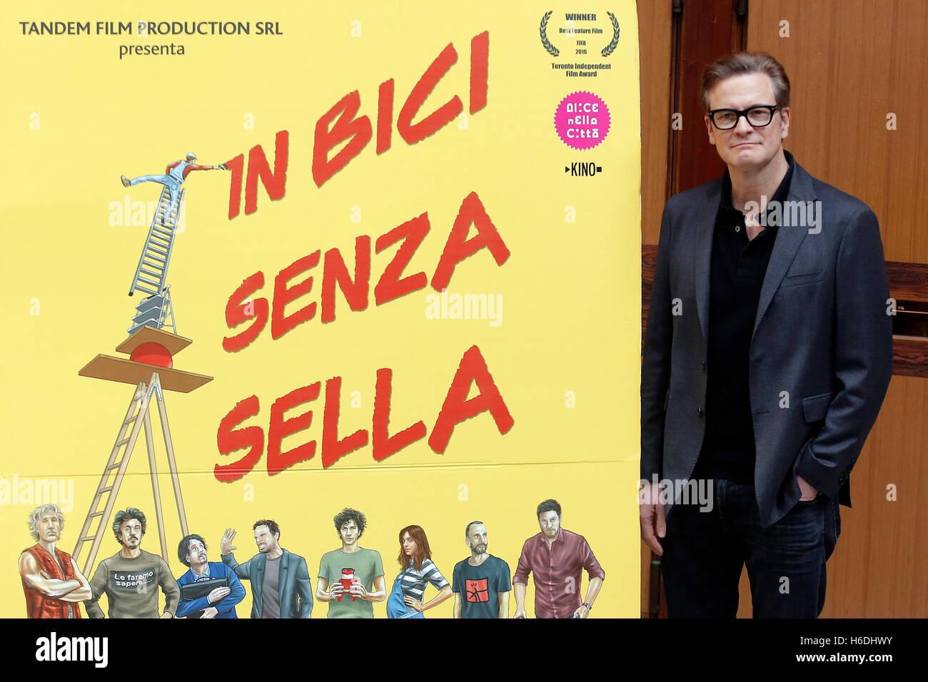 Colin Firth Rom 27. Oktober 2016. Schauspieler Colin Firth Gast an der Universität La Sapienza über Jugendliche Stockbild