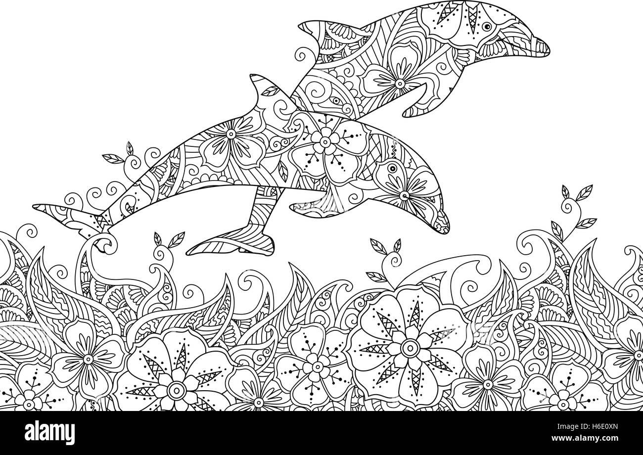 Malvorlagen mit paar springen Delphine im Meer Vektor Abbildung ...
