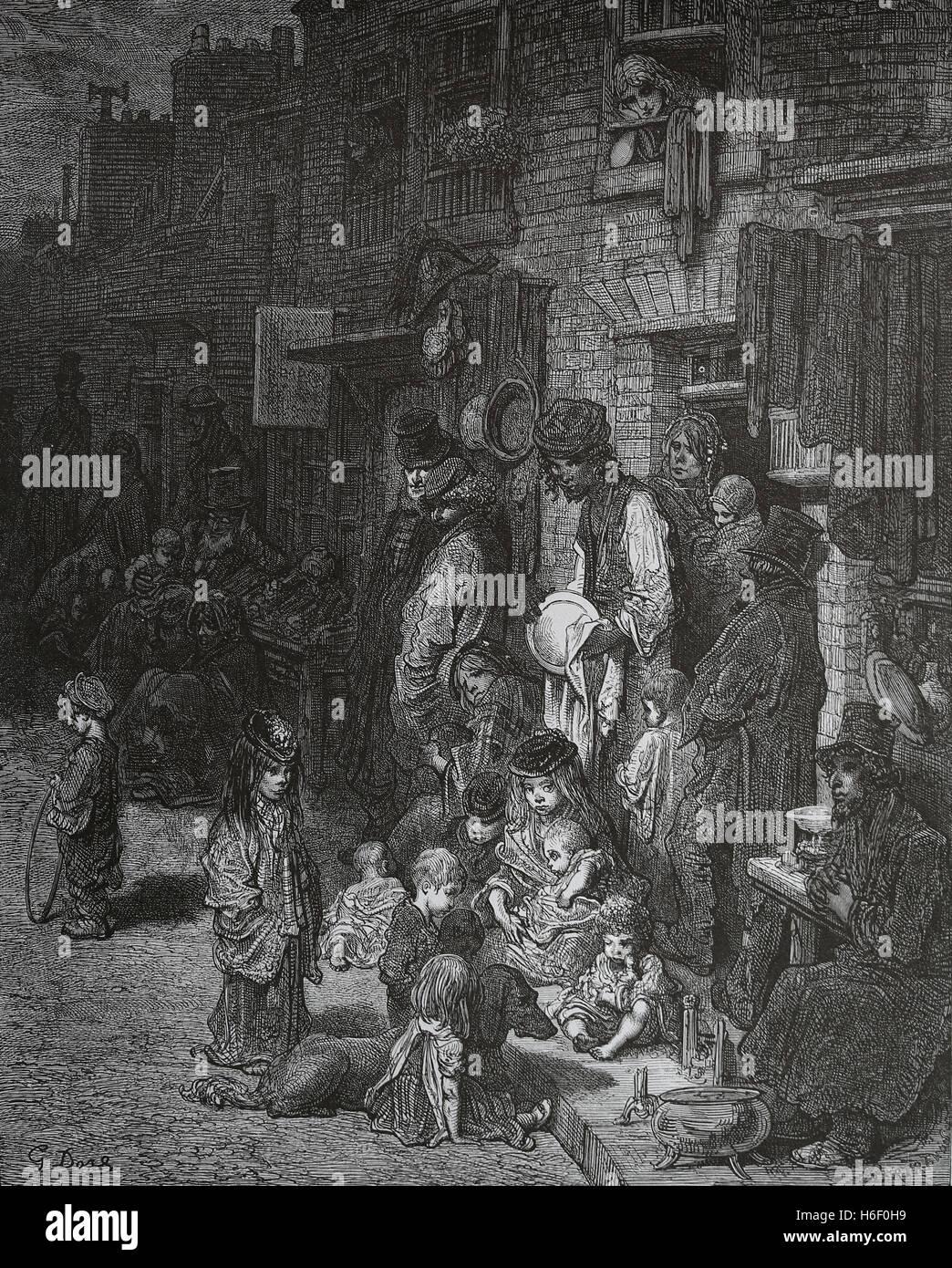 Vereinigtes Königreich. London. Whitechapel. Nachbarschaft der Arbeiterklasse. Gravur von Gustave Dore, London; Stockfoto