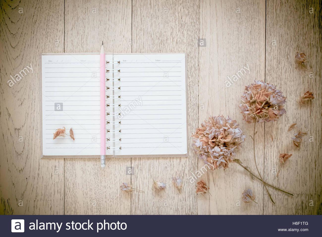 notebook und trockenblumen am alten holz hintergrund vintage stil stockfoto bild 124491264. Black Bedroom Furniture Sets. Home Design Ideas