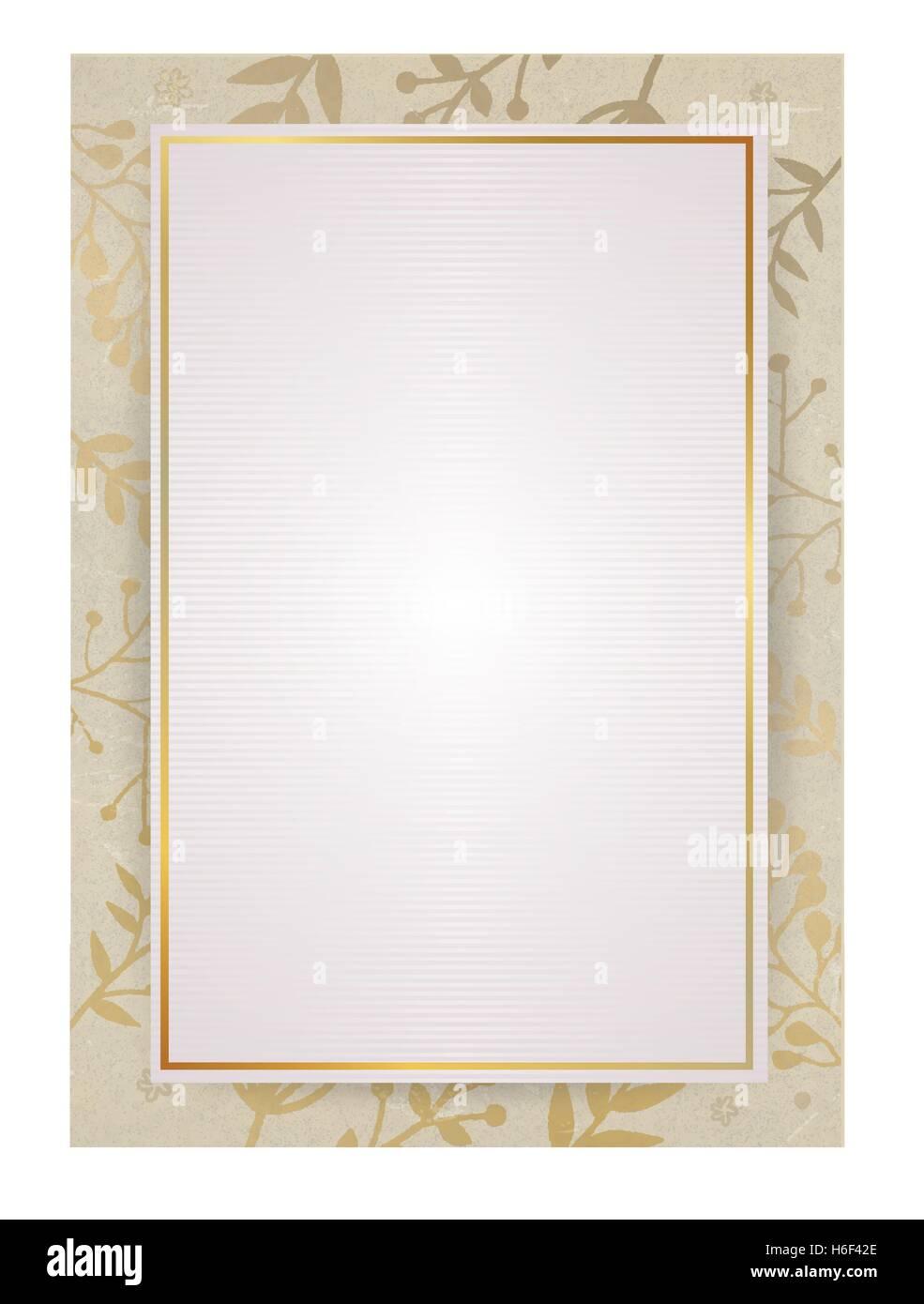 A4-Dokument Größe Weißbuch Hintergrund mit goldenen Flora ...