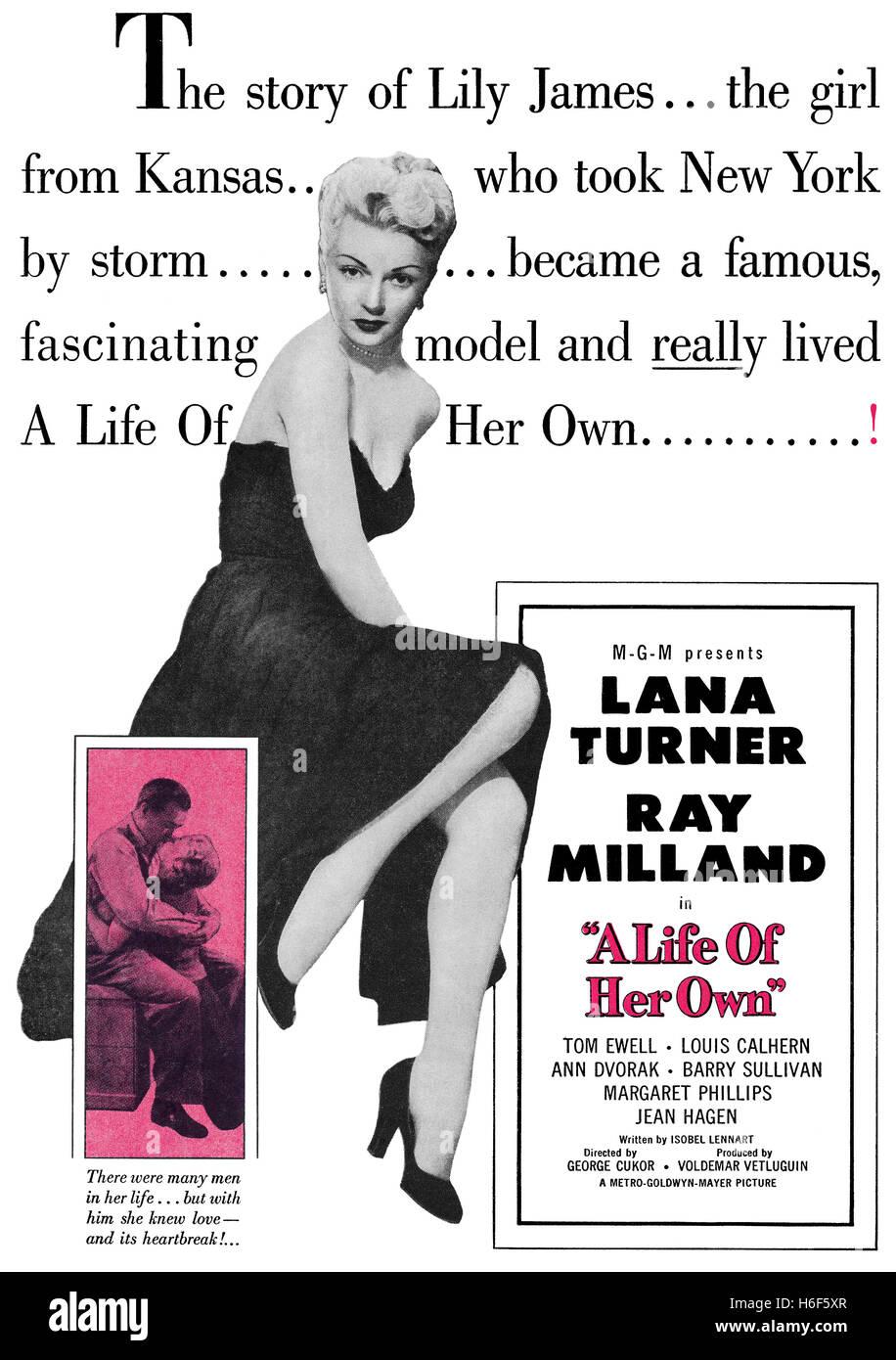 1950 USA Werbung für den Film ein Leben in ihrer eigenen mit Lana Turner und Ray Milland Stockbild
