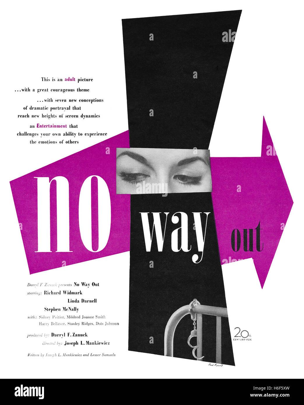 1950 US Werbung, entworfen von Paul Rand, für den Film No Way Out mit Richard Widmark, Linda Darnell und Stephen Stockbild