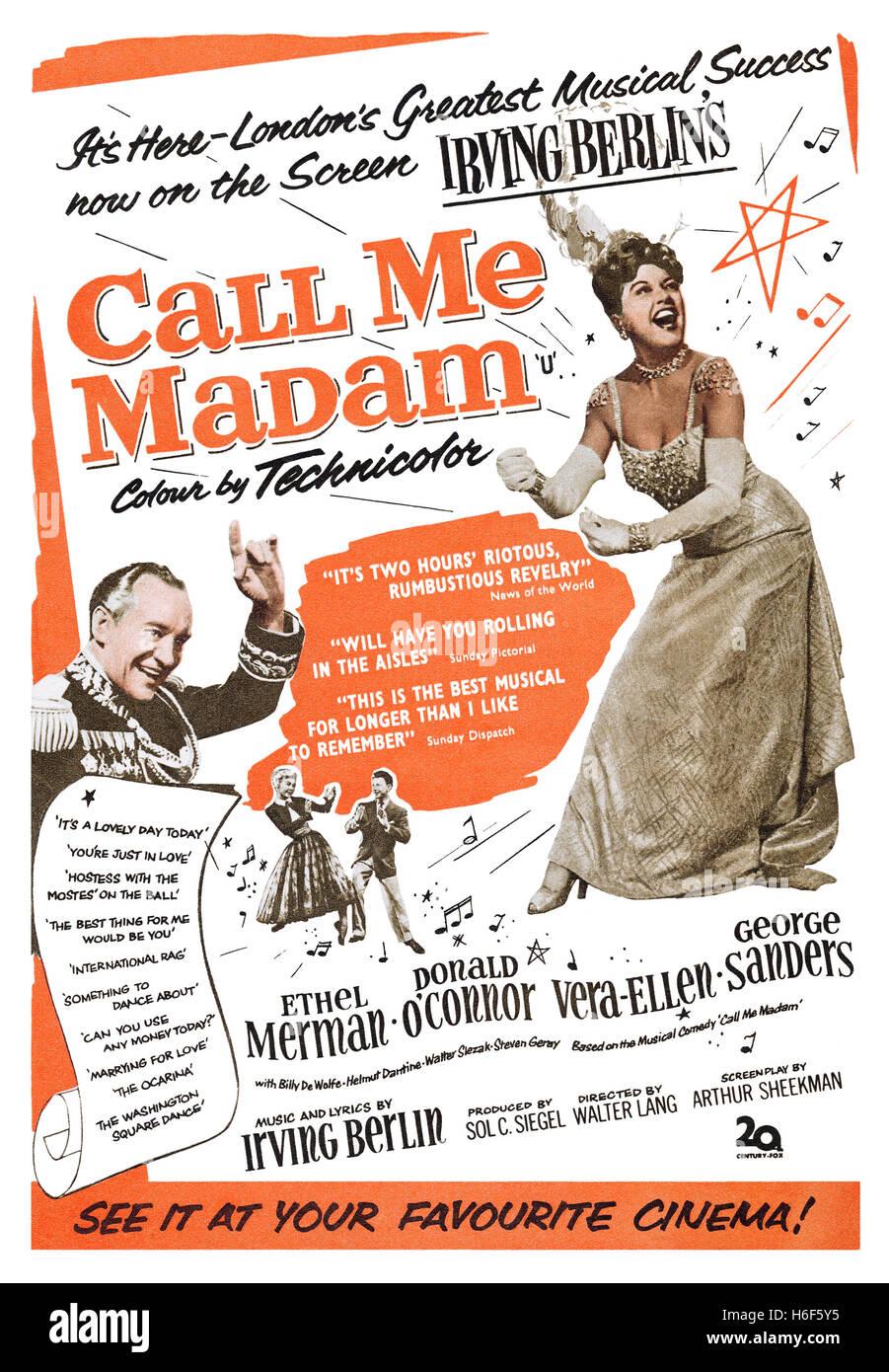1953 britische Werbung für den Film musikalische rufen Sie mich an Frau mit Ethel Merman, Donald O'Connor, Stockbild
