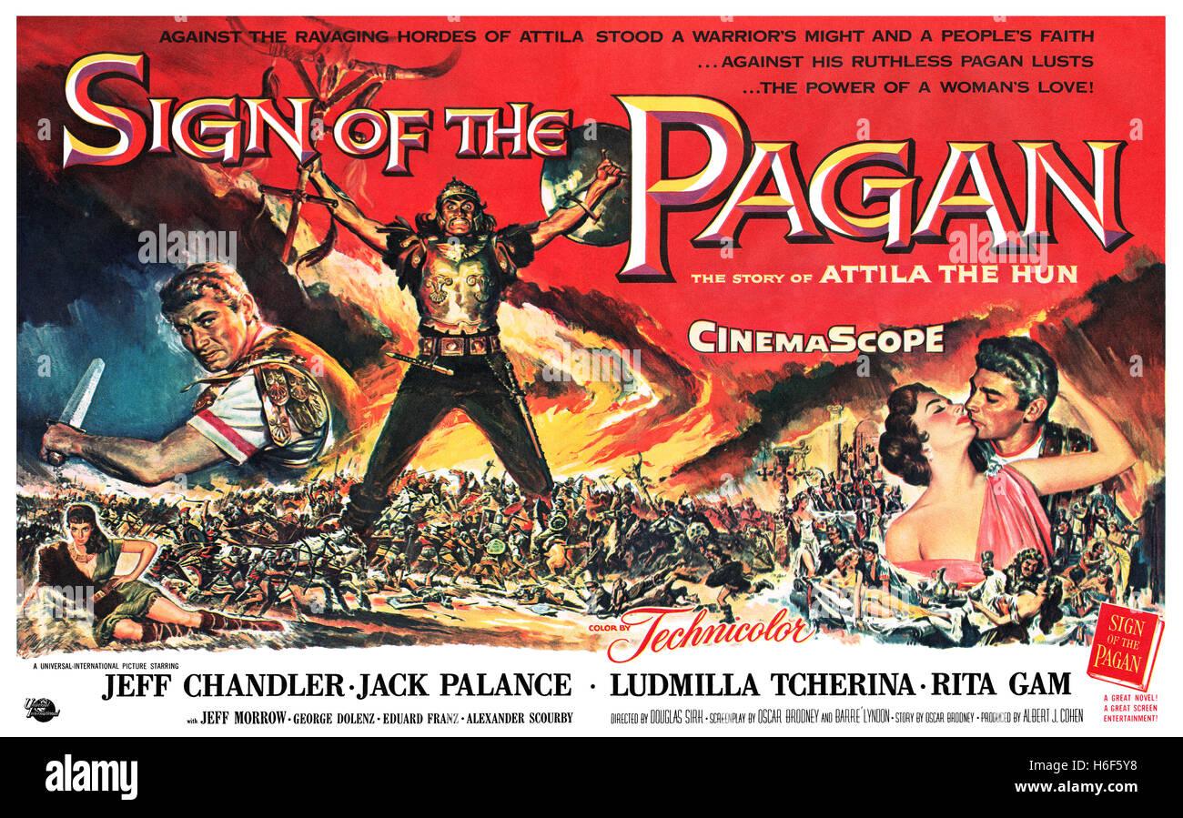 1954 USA Werbung für den Film Zeichen des heidnischen starring Jeff Chandler, Jack Palance, Ludmilla Tcherina Stockbild