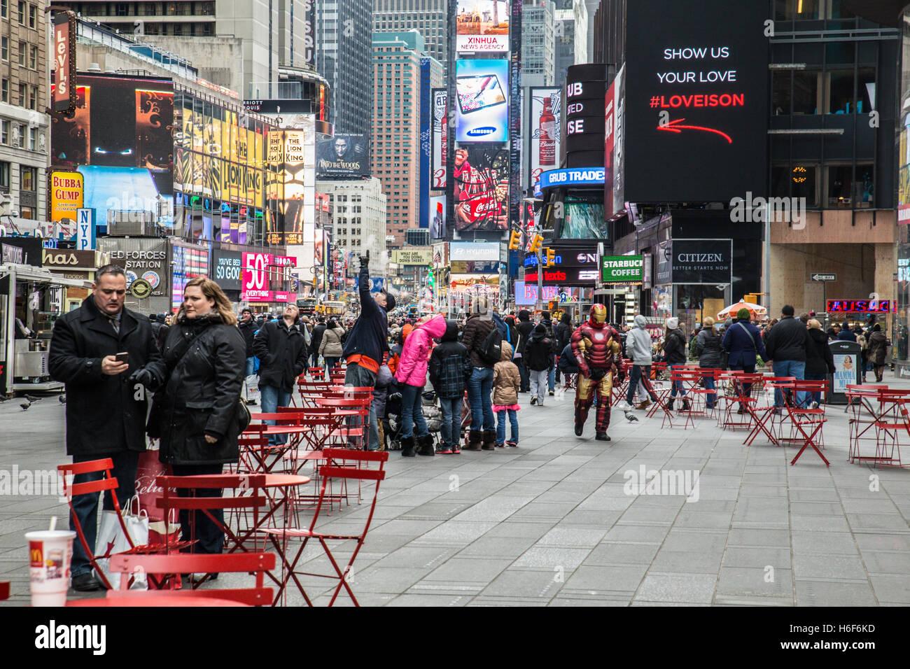 Blick auf Times Square in Manhattan, New York City Stockbild