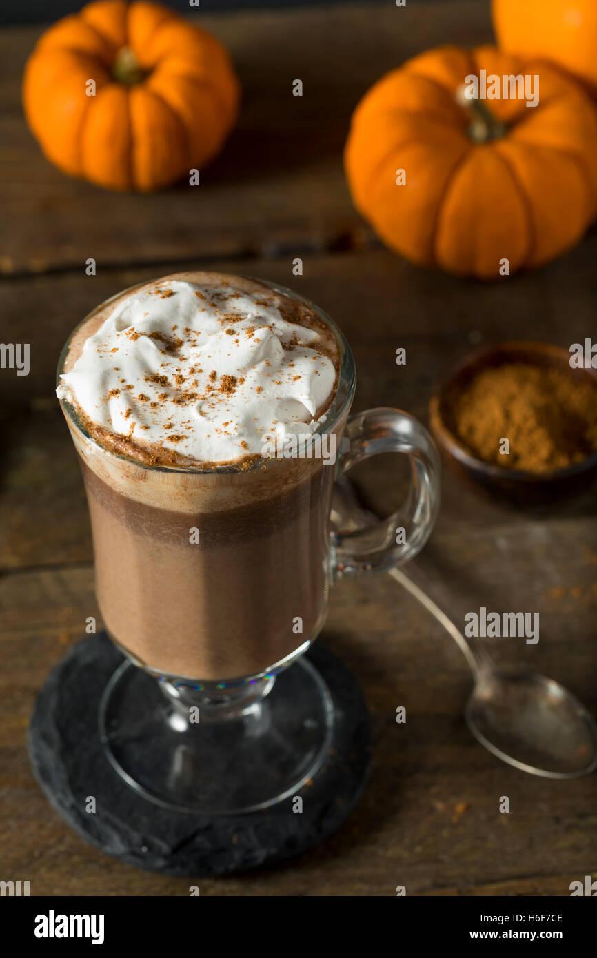 Hausgemachte Kürbis Gewürz heiße Schokolade mit Schlagsahne Stockbild