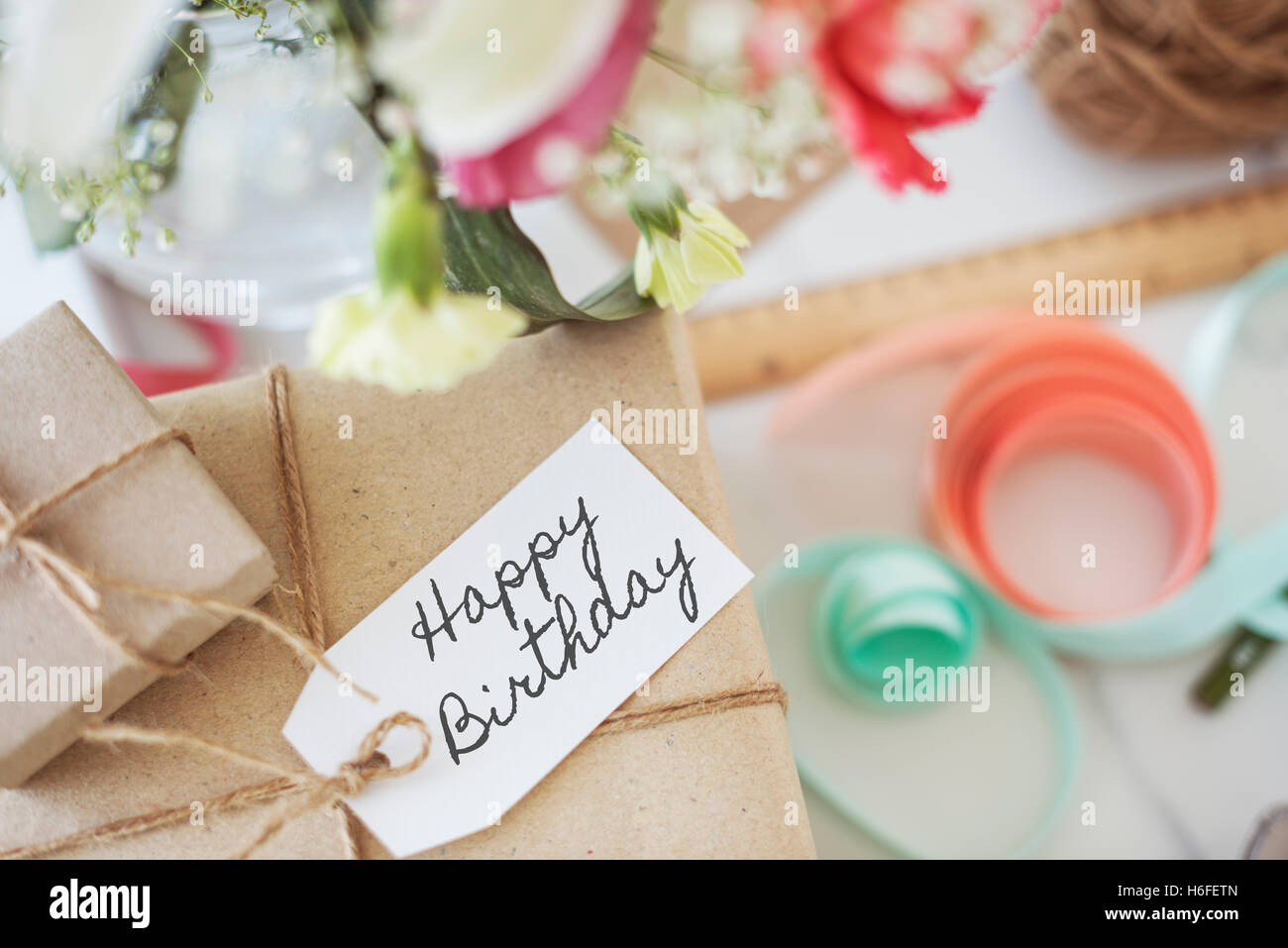 HBD Happy Birthday Celebration Glückwunsch Party Konzept Stockbild