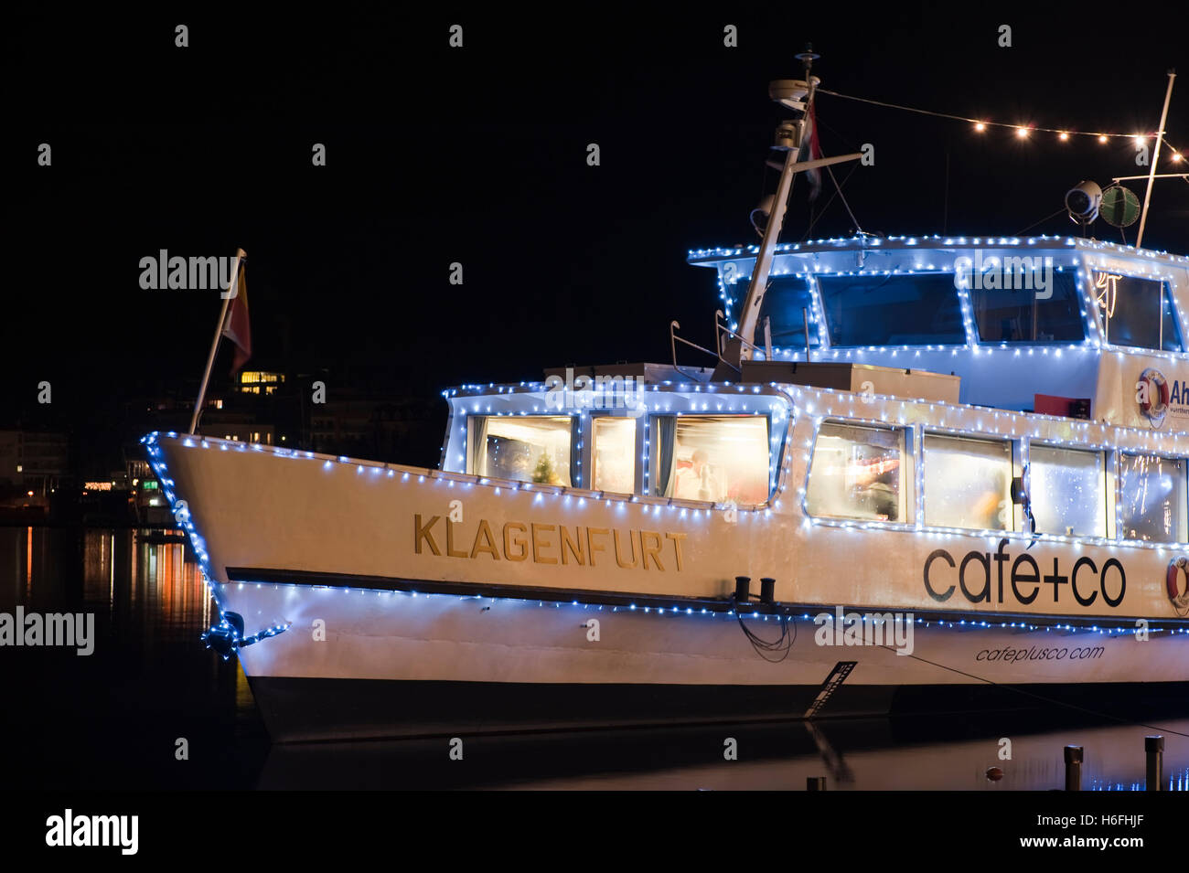 Schiff, Nacht erschossen, Weihnachtszeit, Wörthersee See, Velden ...