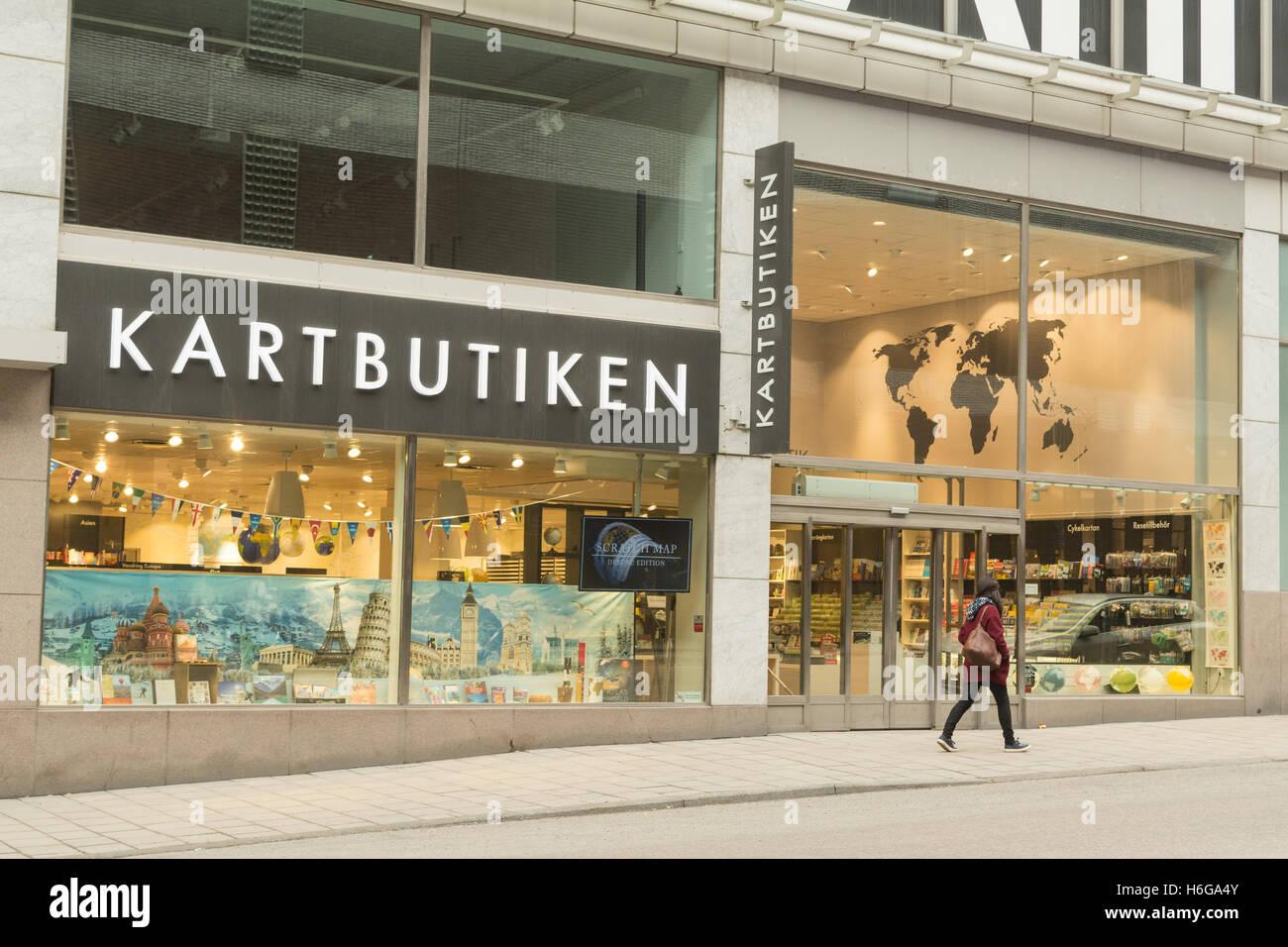 Karte und Reisen Buchhandlung Kartbutiken in Stockholm Stockbild