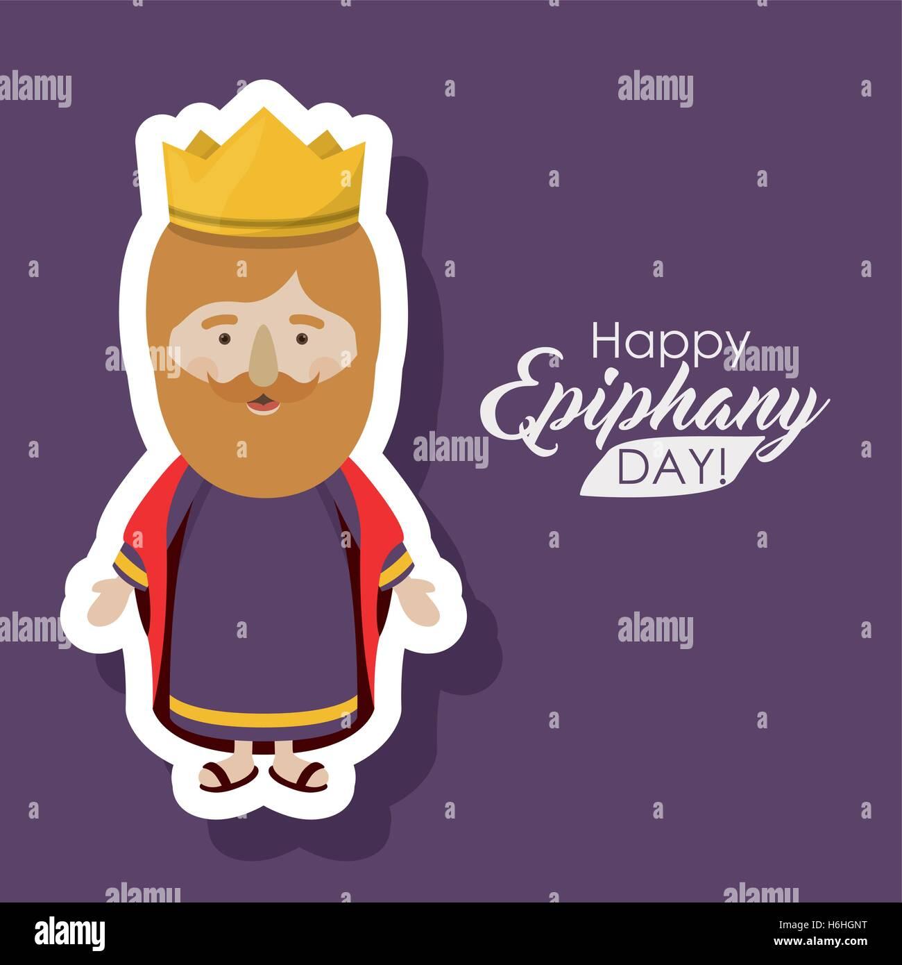 Wiseman Cartoon Ikone. Glücklich Epiphanie Tag Heilig Abend und ...