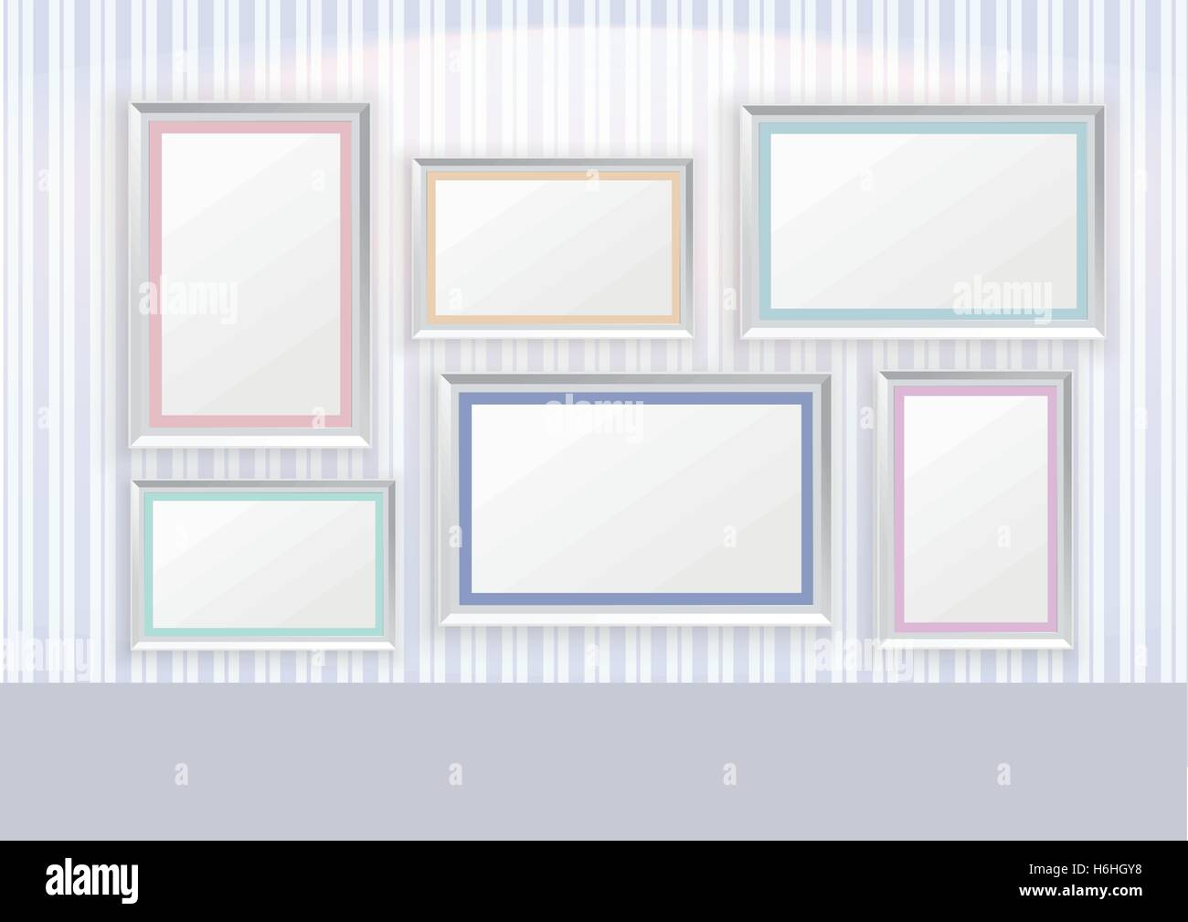 Blau gestreifte Linie Muster Tapete mit Bilderrahmen und spot-Licht ...