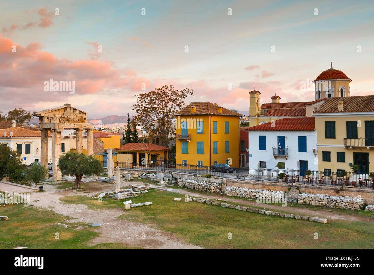 Alte Ruinen in Stadt von Athen. Stockbild