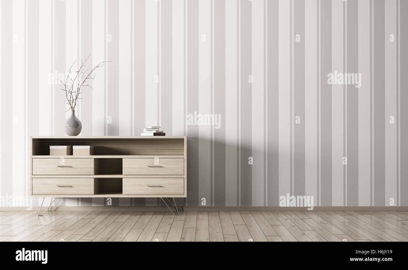 Modernes Interieur Aus Wohnzimmer Mit Holz Kommode Uber Gestreifte