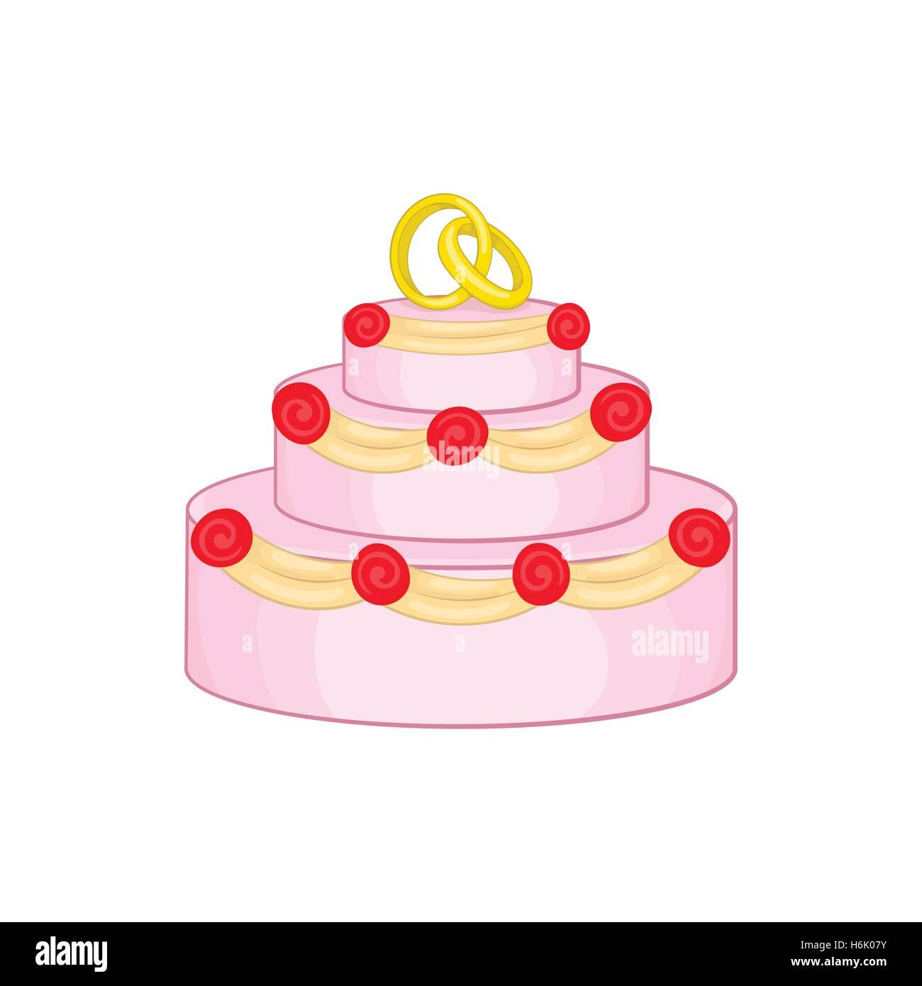 Hochzeitstorte Symbol Cartoon Stil Vektor Abbildung Bild