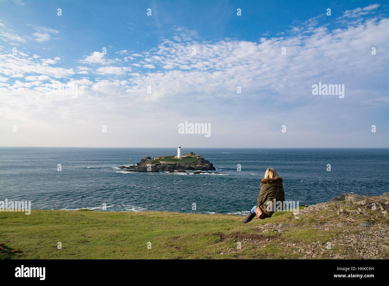 Godrevy, Cornwall, UK. 30. Oktober 2016. Großbritannien Wetter. Einen schönen Nachmittag bei Godrevy. Bildnachweis: Simon Maycock/Alamy Live-Nachrichten Stockfoto