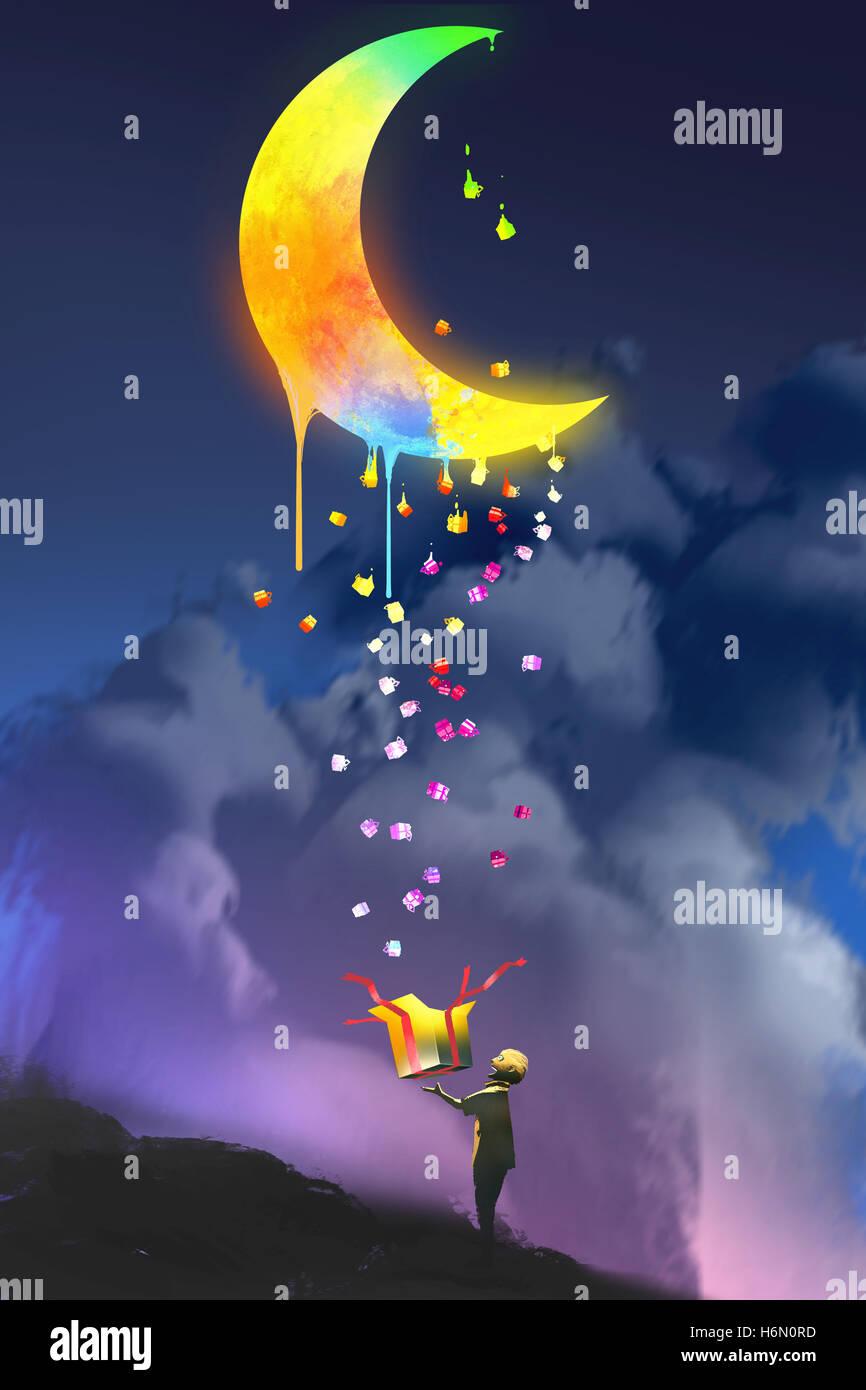 das Kind eine Fantasy-Box öffnen und nach oben ein magisches Geschenk, bunte schmelzenden Mond, Illustration, Stockbild