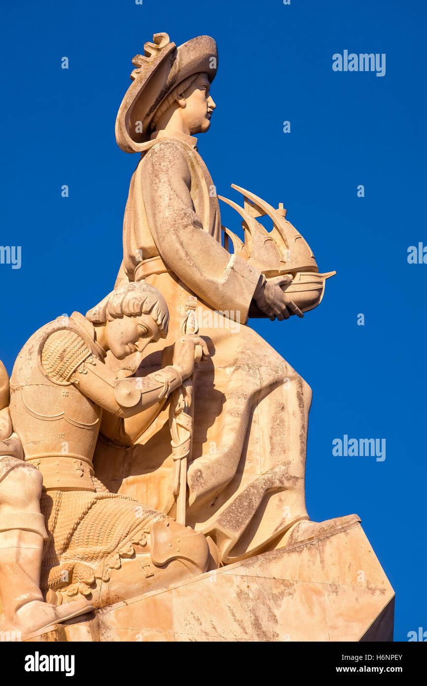 Detail des Denkmals der Entdeckungen in Lissabon Stockbild