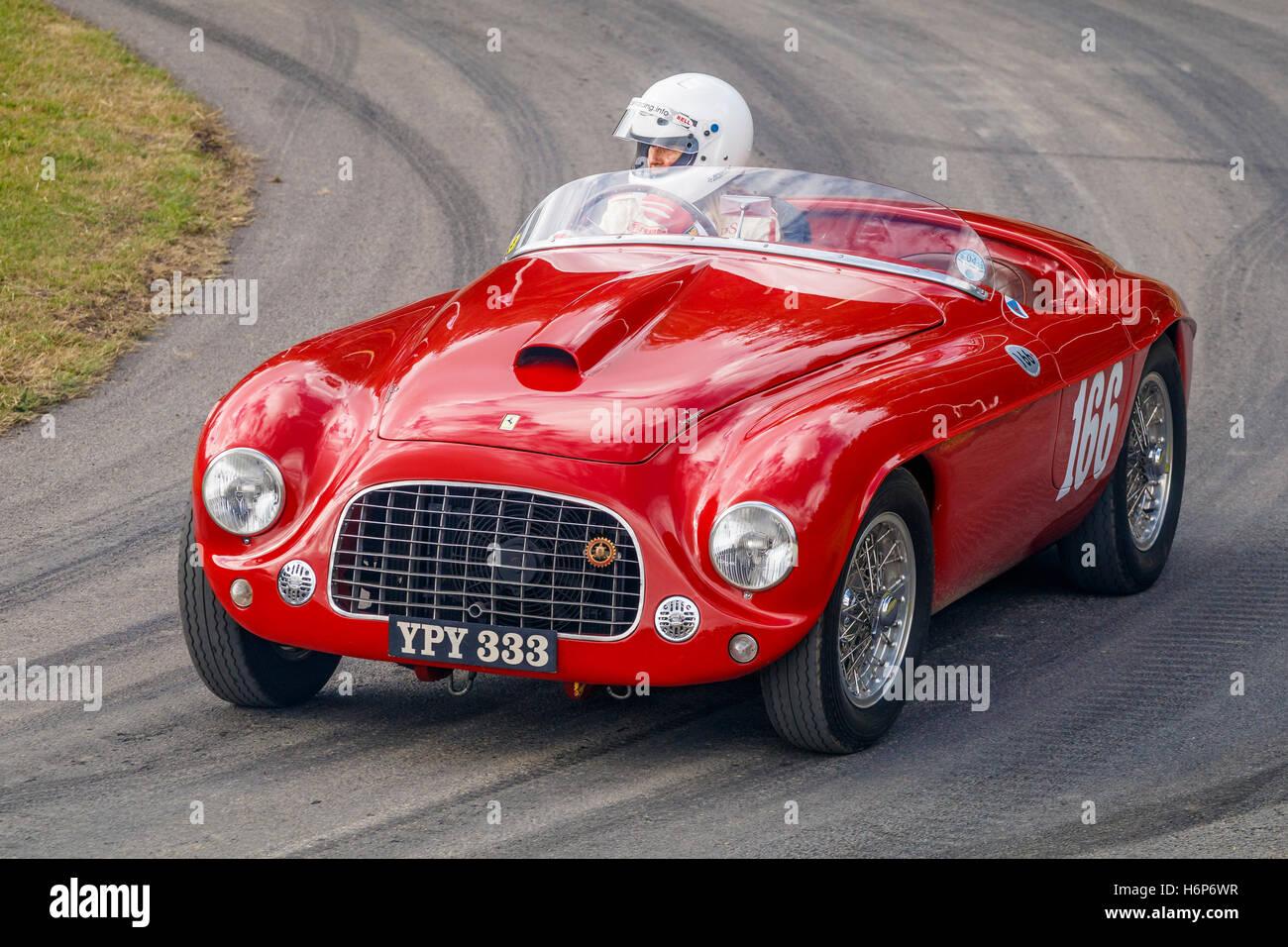 1950 Ferrari 166 Mm Barchetta Mit Fahrer Sally Mason Styrron Auf Die 2016 Goodwood Festival Of Speed Sussex Uk Stockfotografie Alamy