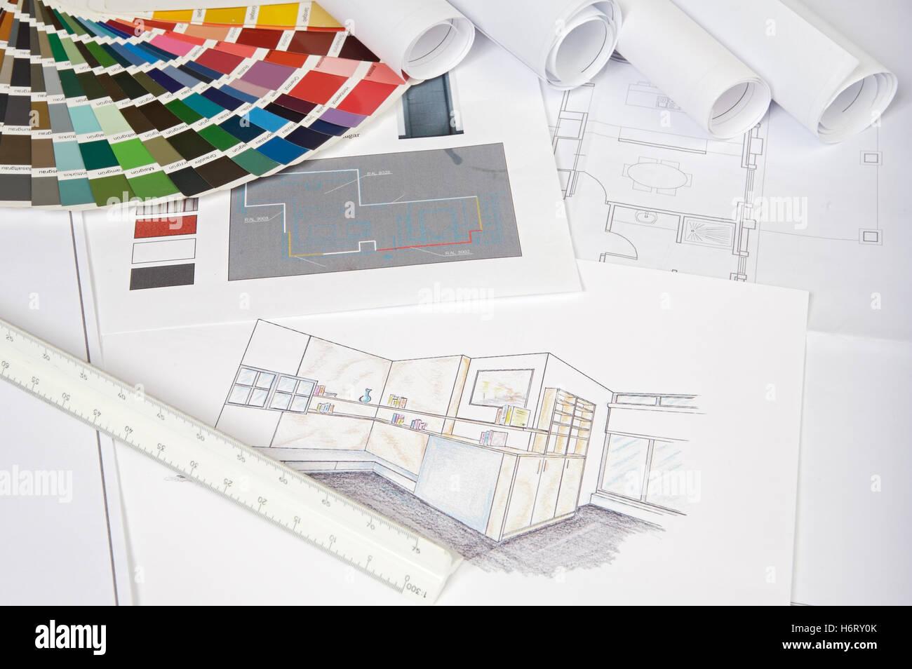 Haus Bauwerkzeugen Architektur Bauen Modell Design Projekt Konzept Plan Entwurf Engineering Gemessenen Motivationsdruck Massnahme Reparatur