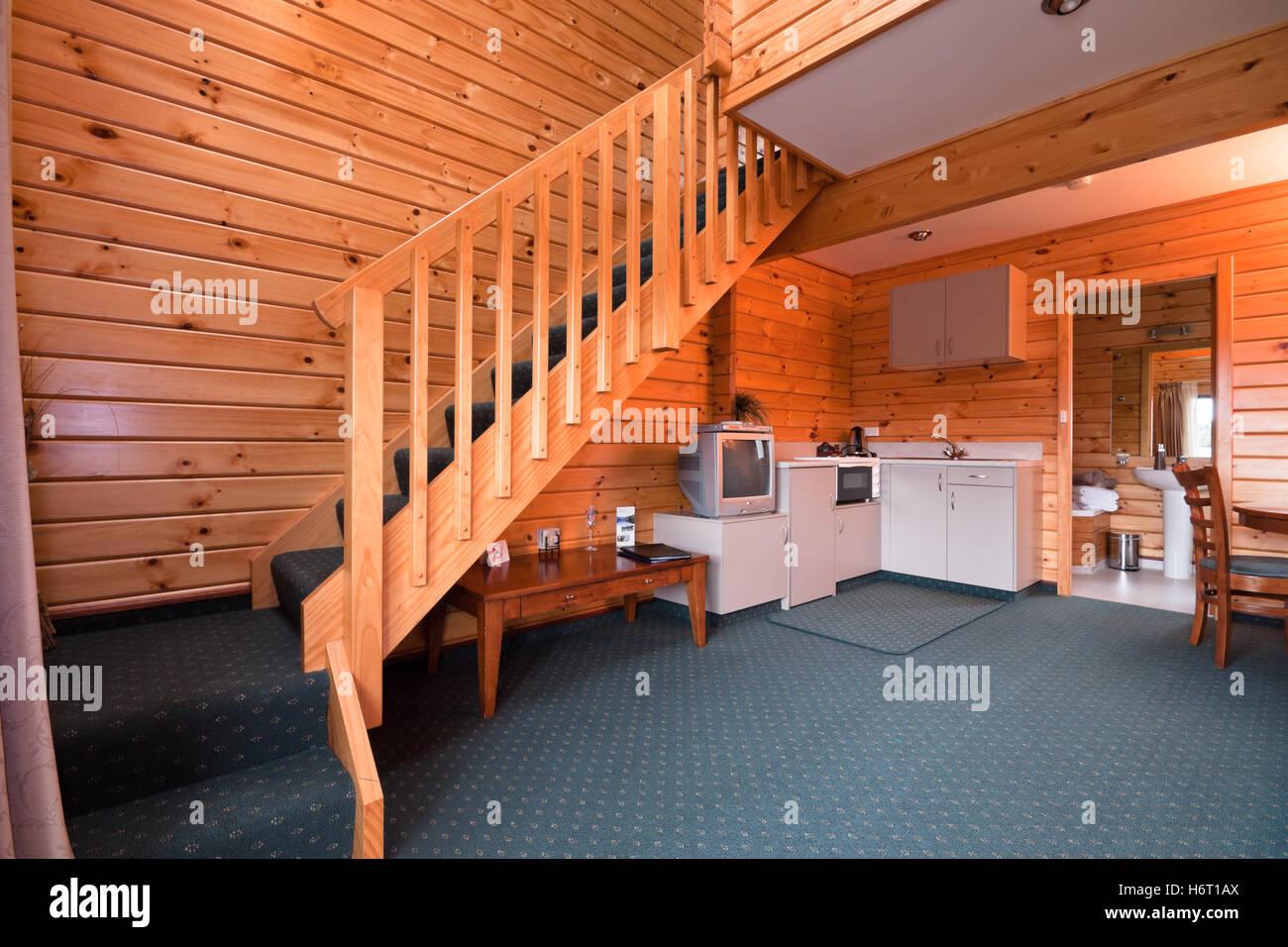 Zimmer Innen Hotel Kabine Aus Holz Nach Hause Wohnung Lodge Treppen