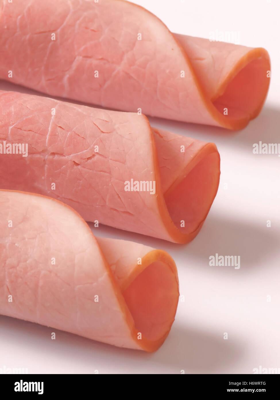 Salz Schinken gebacken dicken breiten fetten Fleischeiweiß Schweinefleisch Honig essen Nahrungsmittel Salz Stockbild