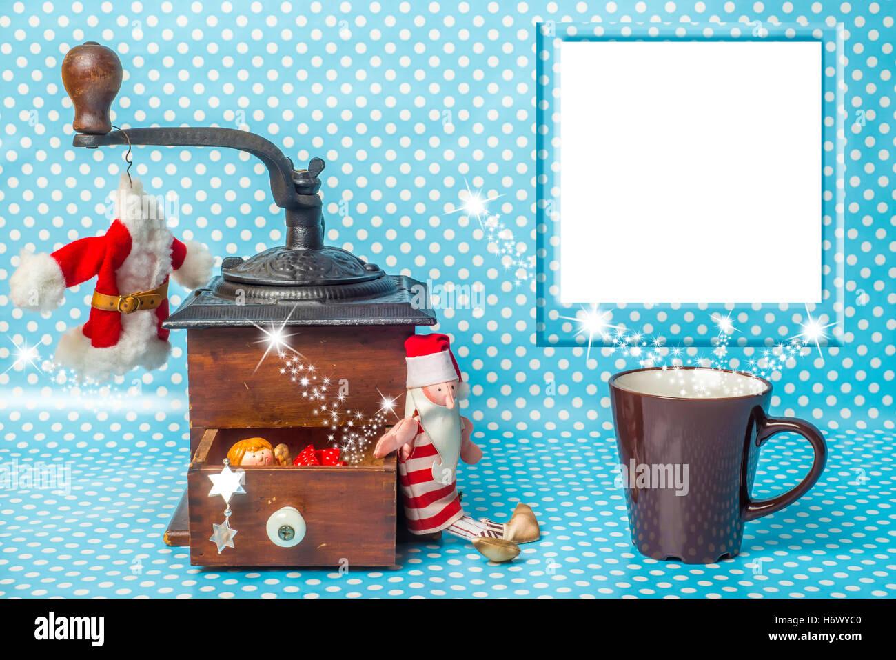 Nette Weihnachtskarte mit leeren Bilderrahmen, Santa Spielzeug und ...