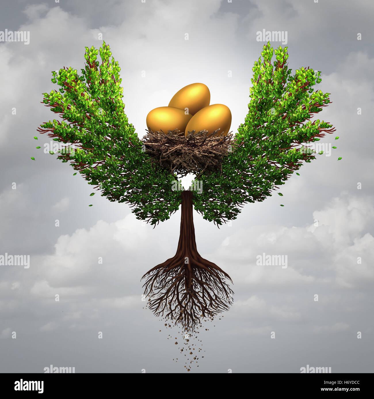 Übertragen Sie Fonds-Finanzkonzept und internationale Geld-Transfer-Symbol als Baum geformt wie ein Vogel mit Stockbild