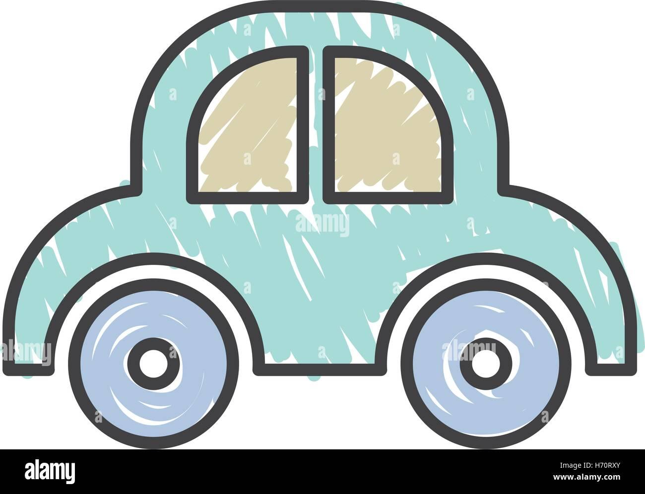 Blue Baby Auto Spielzeug auf weißem Hintergrund. Skizzieren Sie und ...