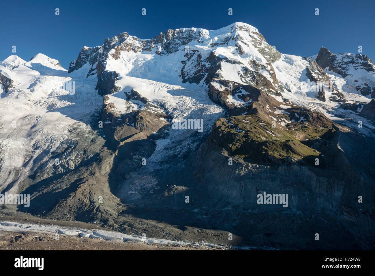 Das Breithorn vom Gornergrat, Zermatt, Walliser Alpen, Wallis, Schweiz. Stockbild